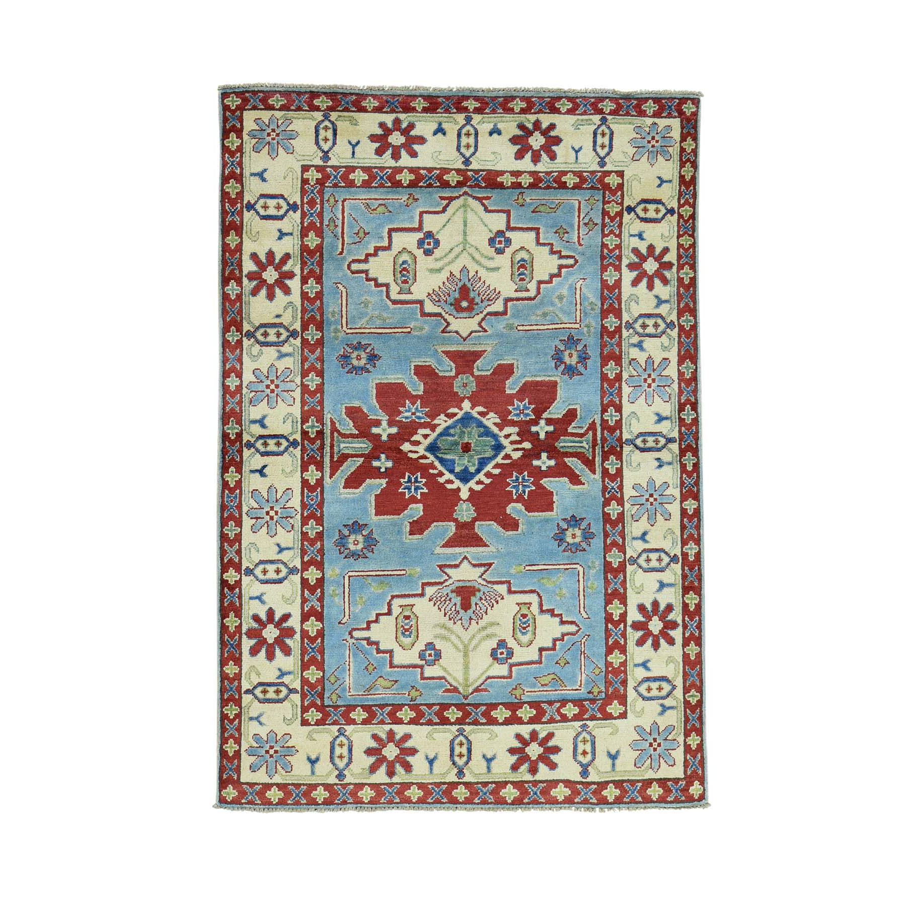 4'X6' Tribal And Geometric Design Kazak 100 Percent Wool Oriental Rug moac0bbc