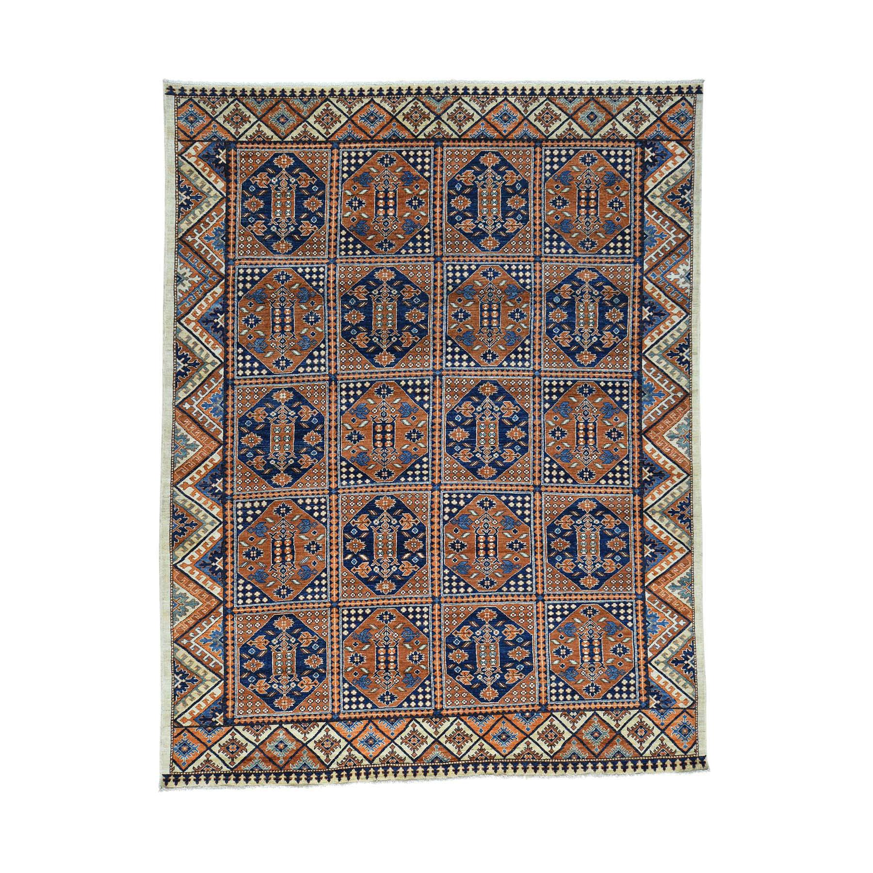 "8'2""x10'6"" Afghan Ersari Block Design Hand Knotted Oriental Rug"