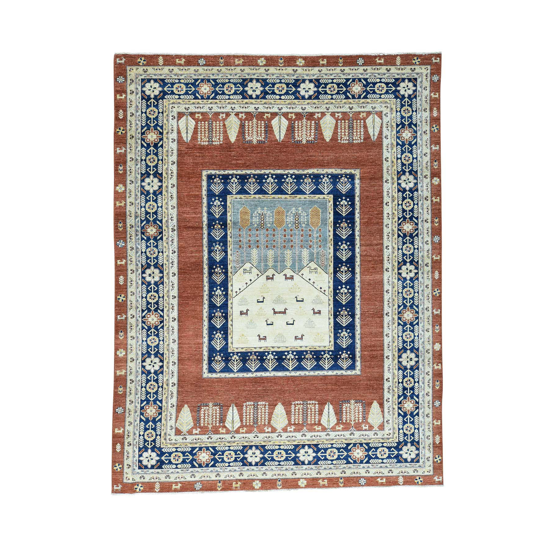 9'X12' Pictorial Tree Design Pure Wool Hand Knotted Peshawar Rug moac0c6b