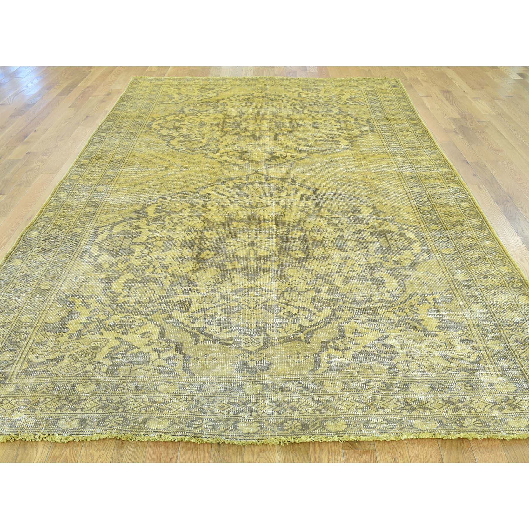 6-5 x9-10  Overdyed Persian Bakhtiar Vintage Hand Knotted Oriental Rug