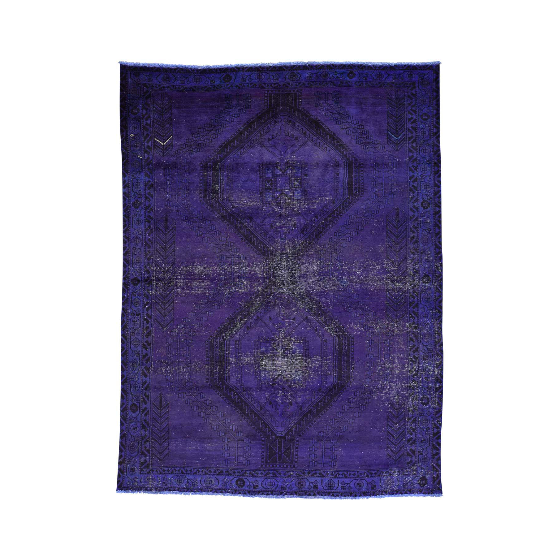 "6'1""x8'1"" Purple Hand Knotted Overdyed Persian Hamadan Vintage Rug"