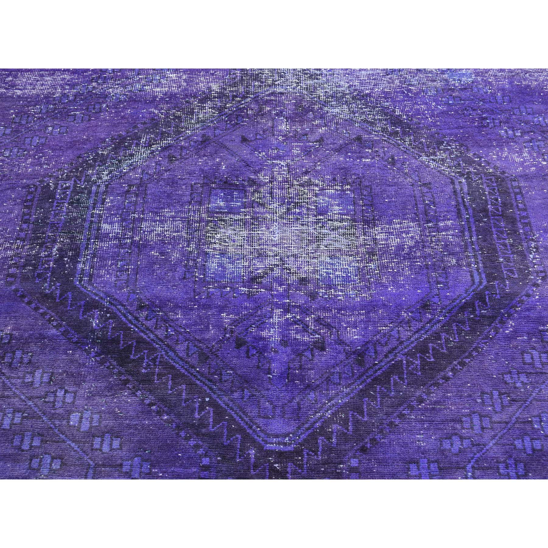 """6'1""""x8'1"""" Purple Hand Knotted Overdyed Persian Hamadan Vintage Rug"""
