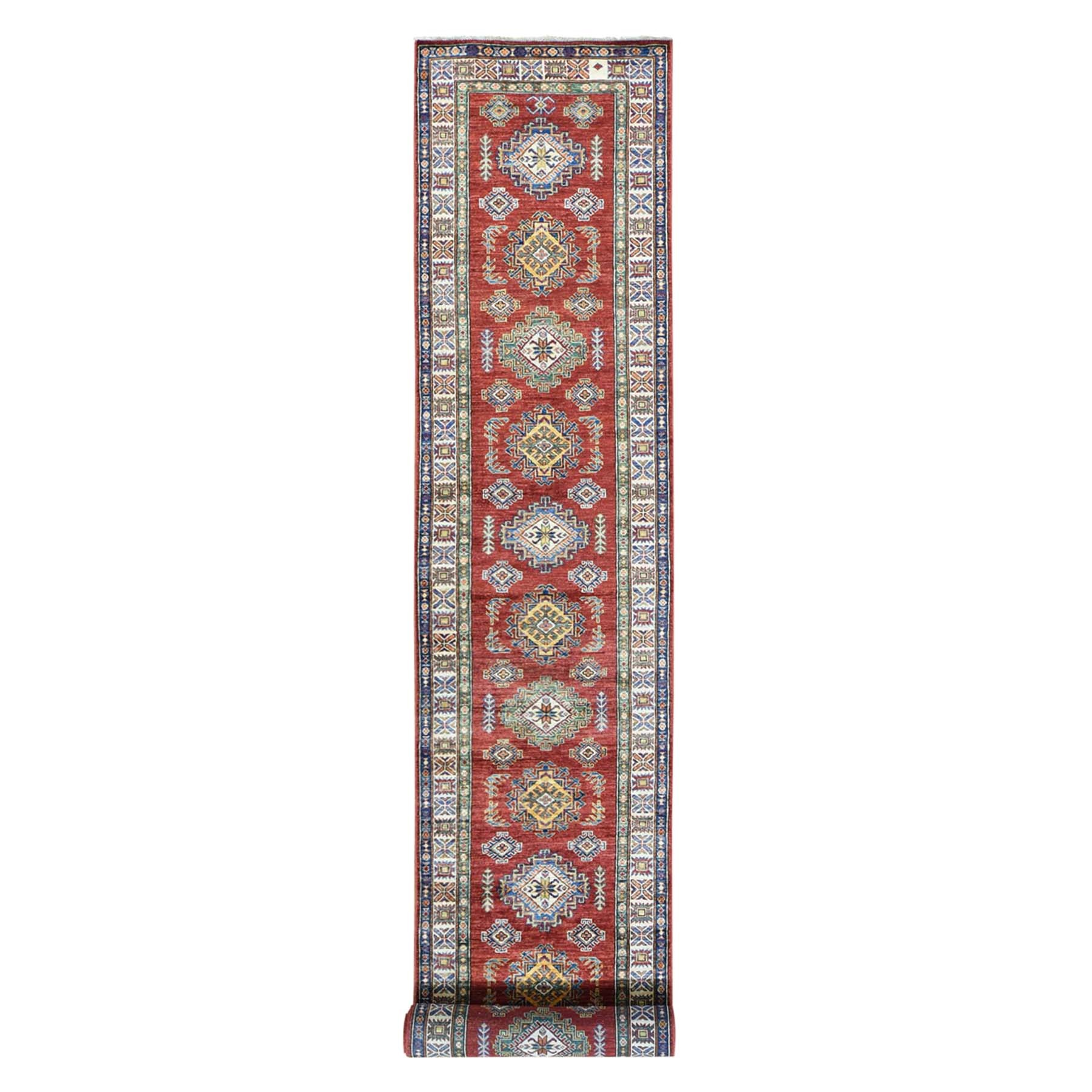 "2'9""X17'6"" Hand-Knotted Super Kazak Xl Runner Pure Wool Oriental Rug moac0ed6"
