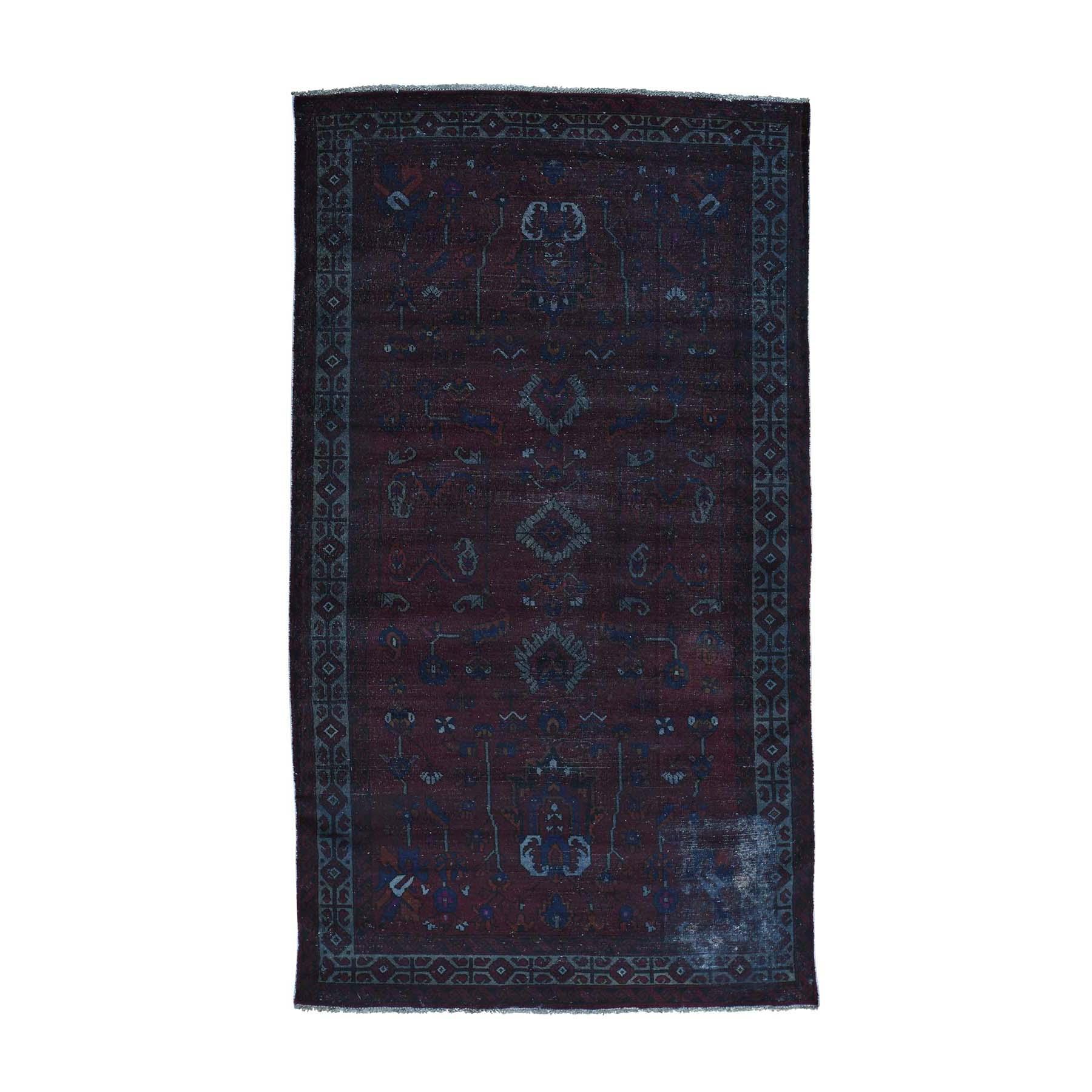 "5'4""X9'5"" Handmade Gallery Size Overdyed Persian Qashqai Vintage Rug moac06bd"