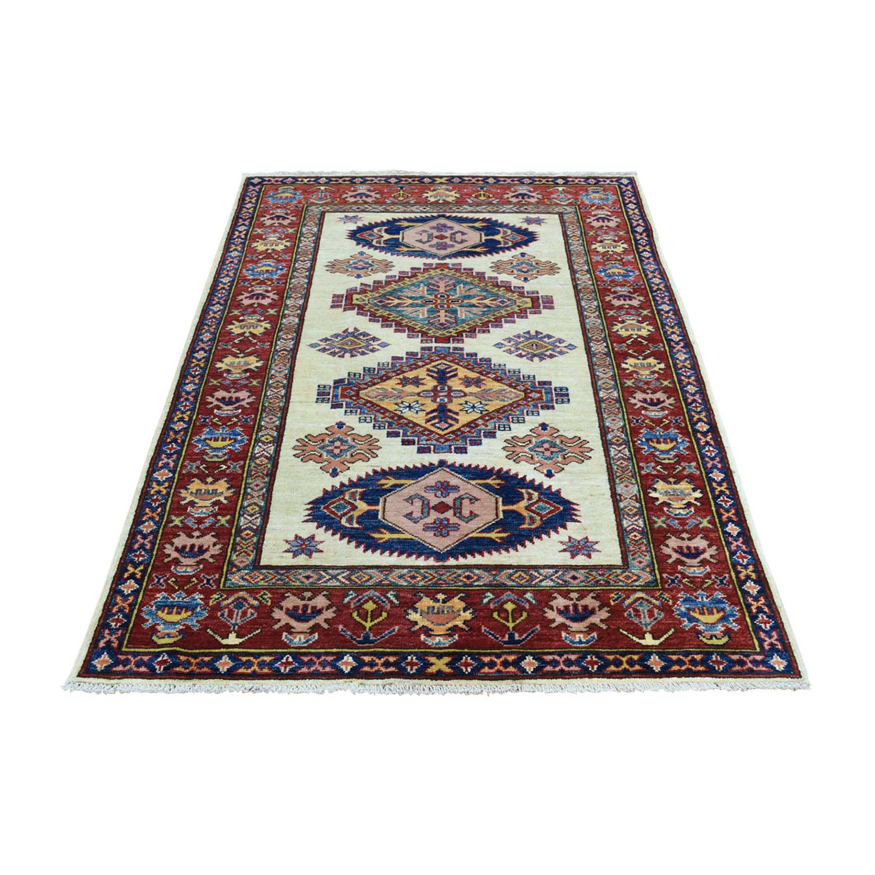 "3'3""X5' Hand-Knotted Pure Wool Super Kazak Tribal Design Oriental Rug moac06e0"