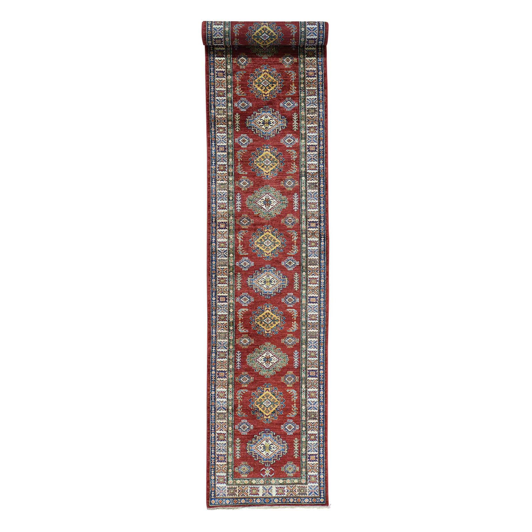 "2'9""X17'10"" Hand-Knotted Xl Runner Super Kazak Pure Wool Oriental Rug moac080c"