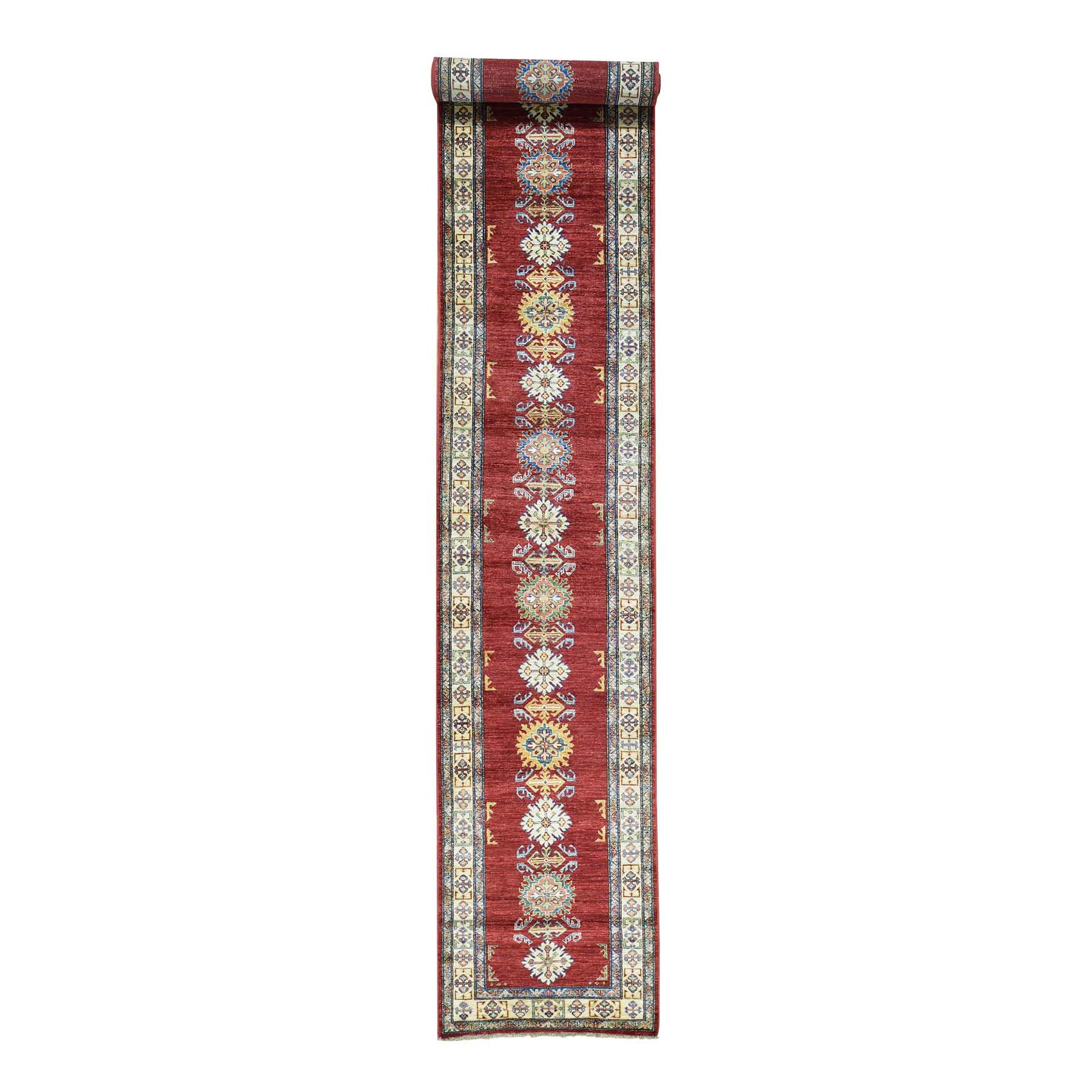 "2'8""X19'1"" Hand-Knotted Super Kazak Xl Runner Tribal Design Oriental Rug moac08bd"