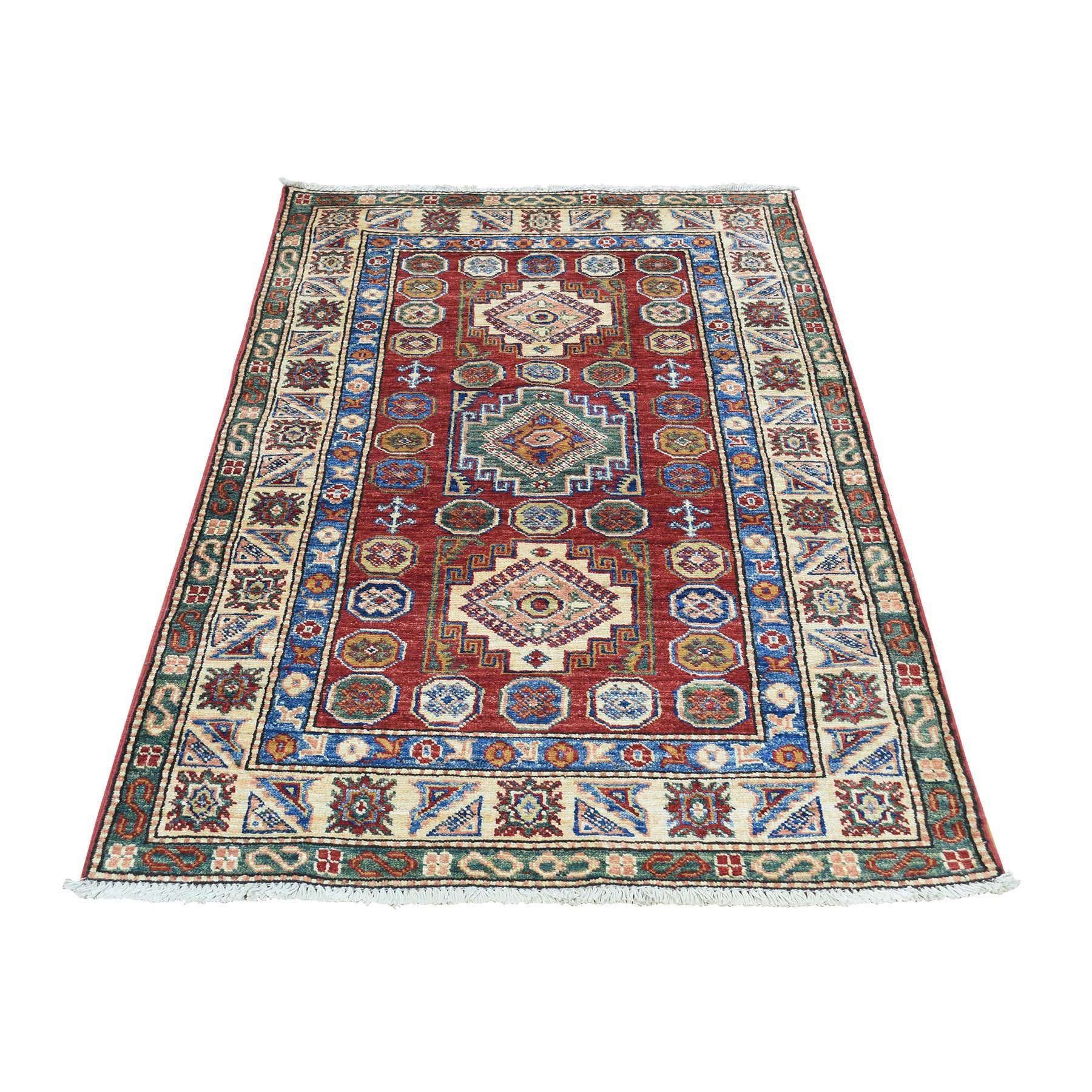 "2'9""X4'6"" Hand-Knotted Pure Wool Super Kazak Tribal Design Oriental Rug moac08be"