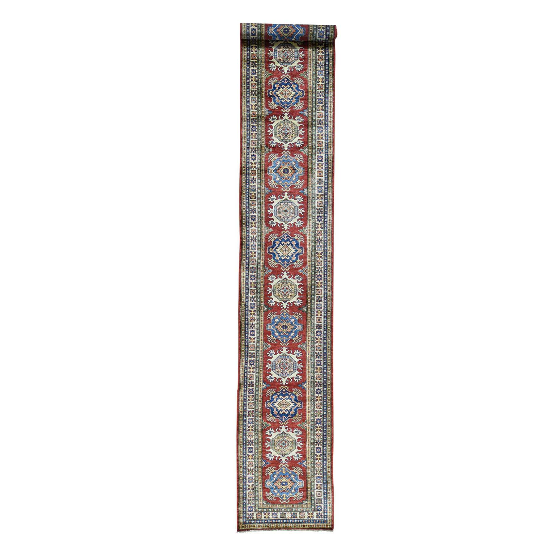 "2'7""X19' Hand-Knotted Tribal Design Super Kazak Xl Runner Oriental Rug moac08e8"