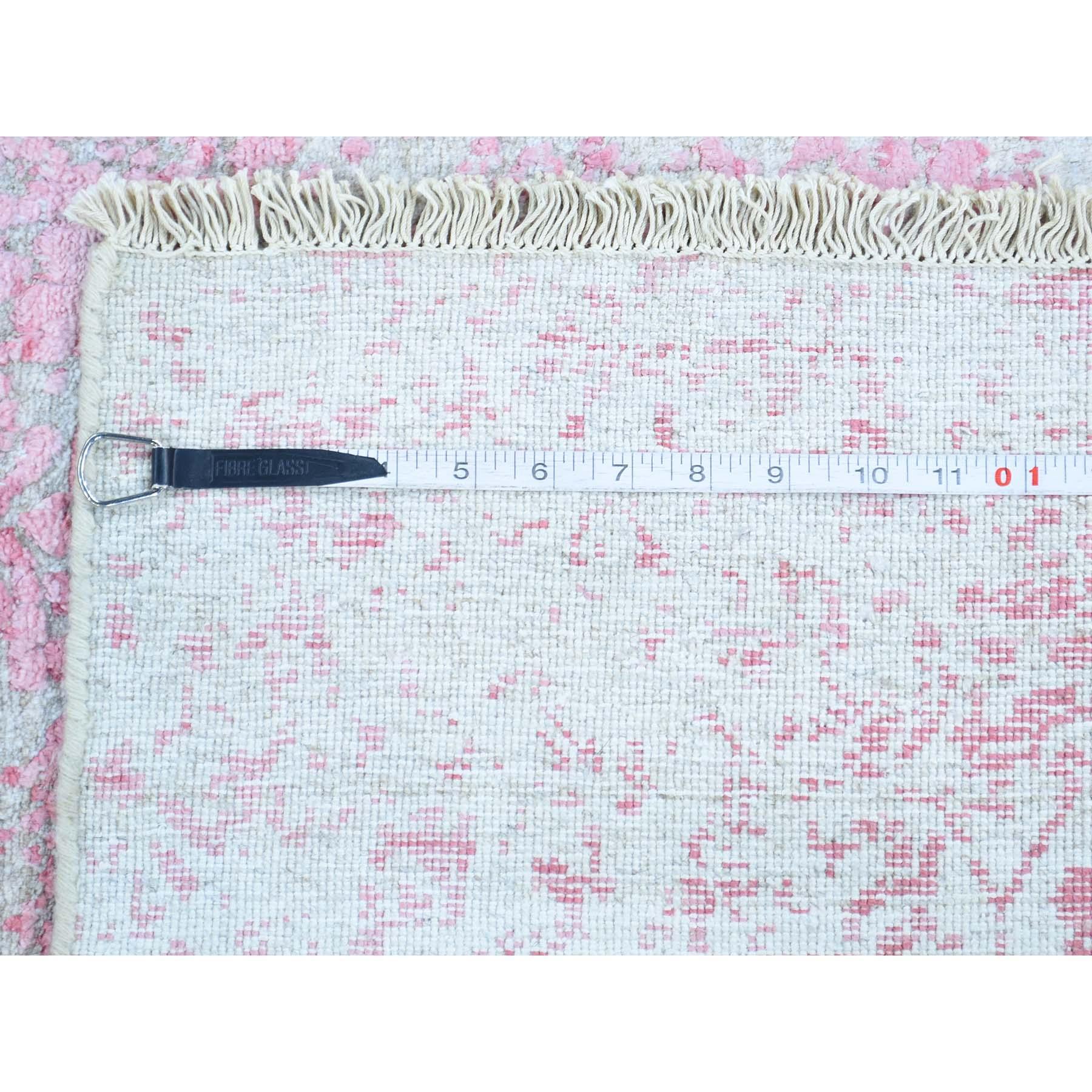 2-6 x9-6  Hand-Knotted Broken Persian Design Runner Wool and Silk Rug