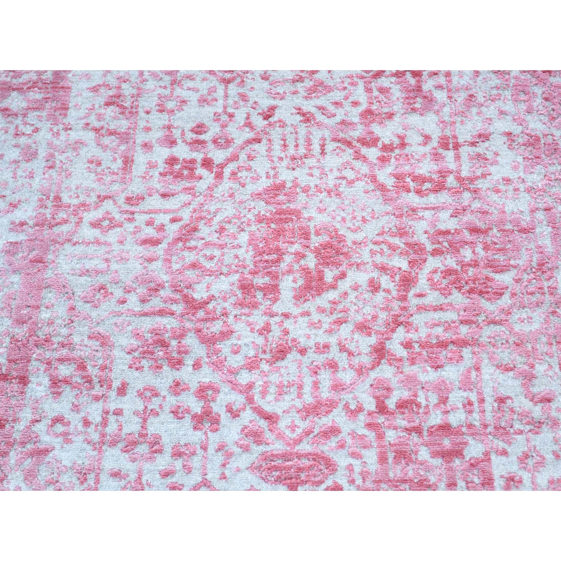 "2'6""x13'6"" Hand-Knotted Wool and Silk Runner Broken Persian Design Rug"