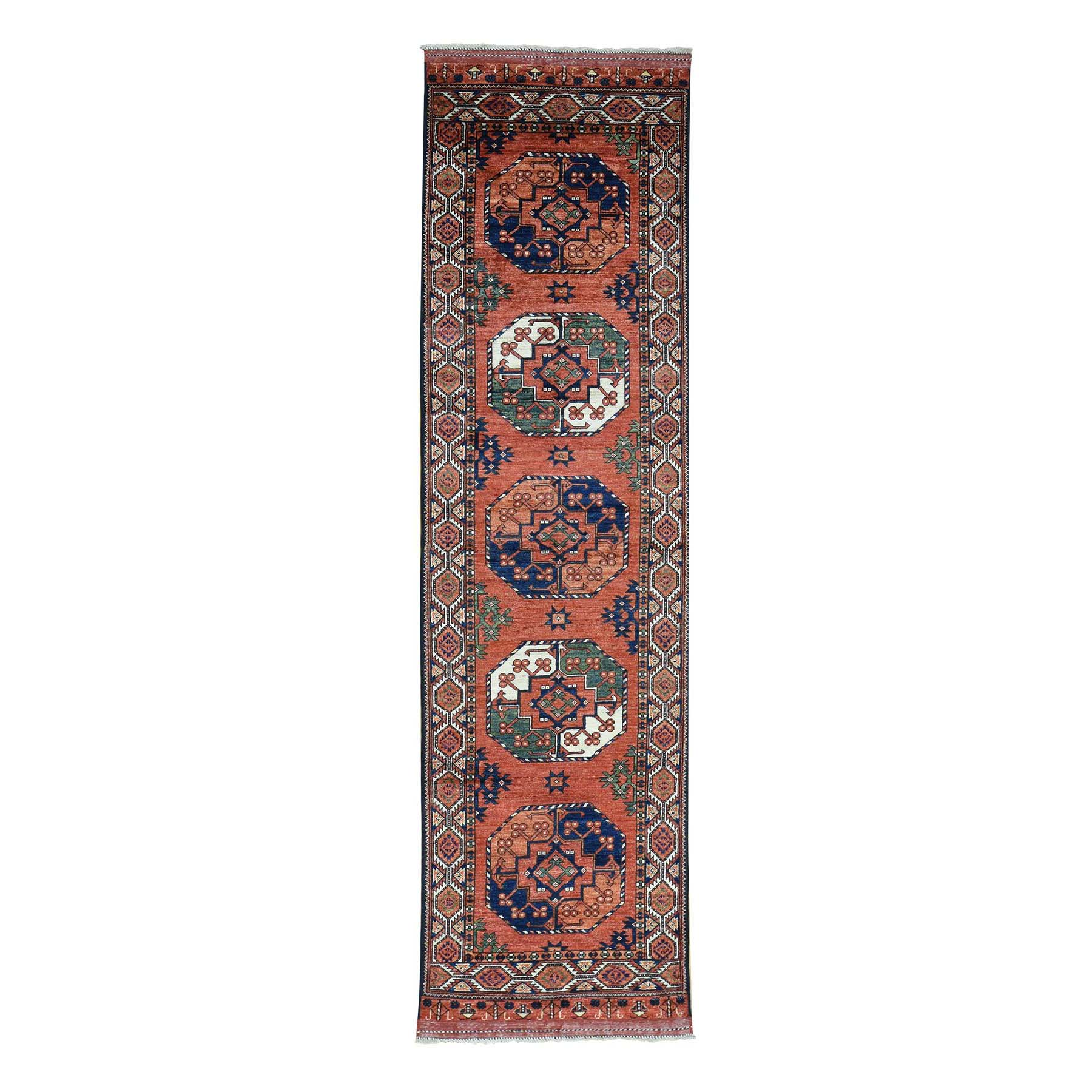 "2'10""X10'4"" Hand-Knotted Afghan Ersari Runner Pure Wool Oriental Rug moac0890"
