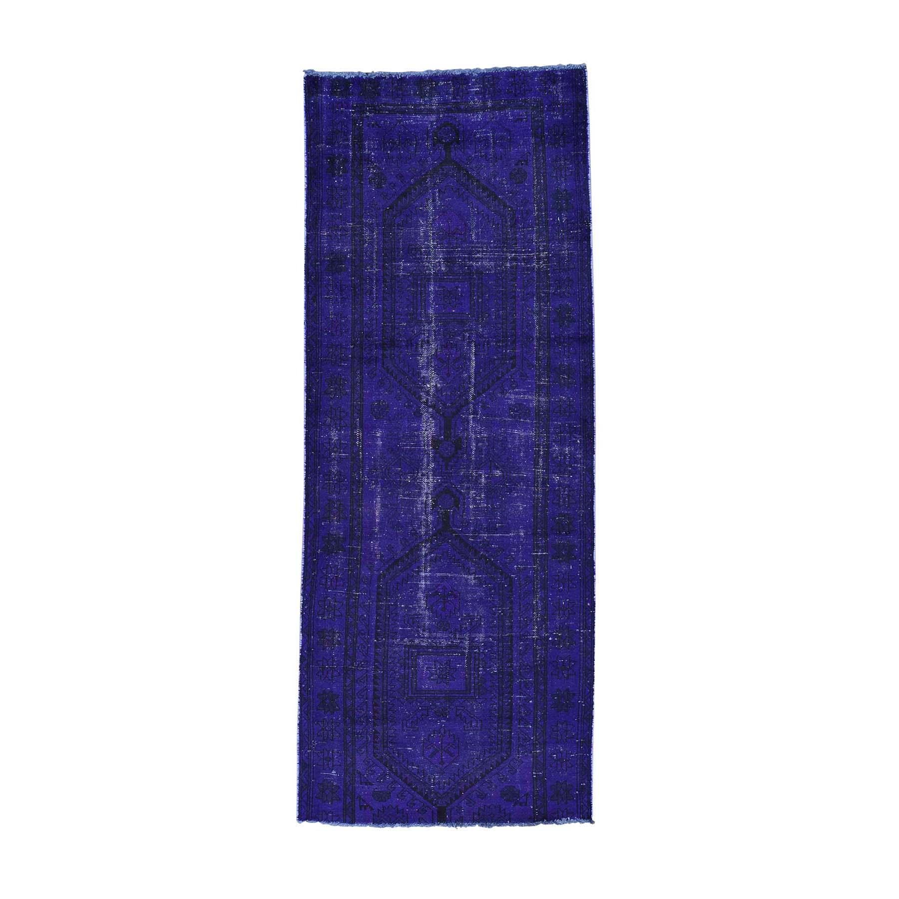 "3'4""X8'7"" Handmade Overdyed Persian Hamadan Vintage Runner Oriental Rug moac0898"