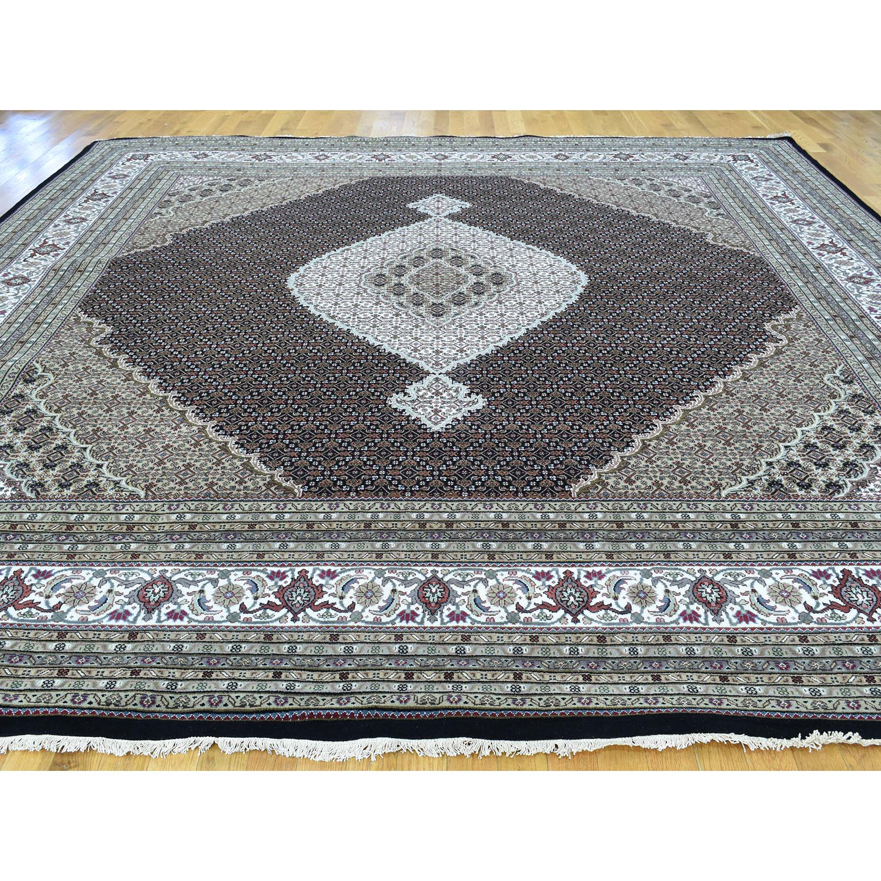 12-x12- Square Hand-Knotted Wool and Silk Tabriz Mahi Oriental Rug