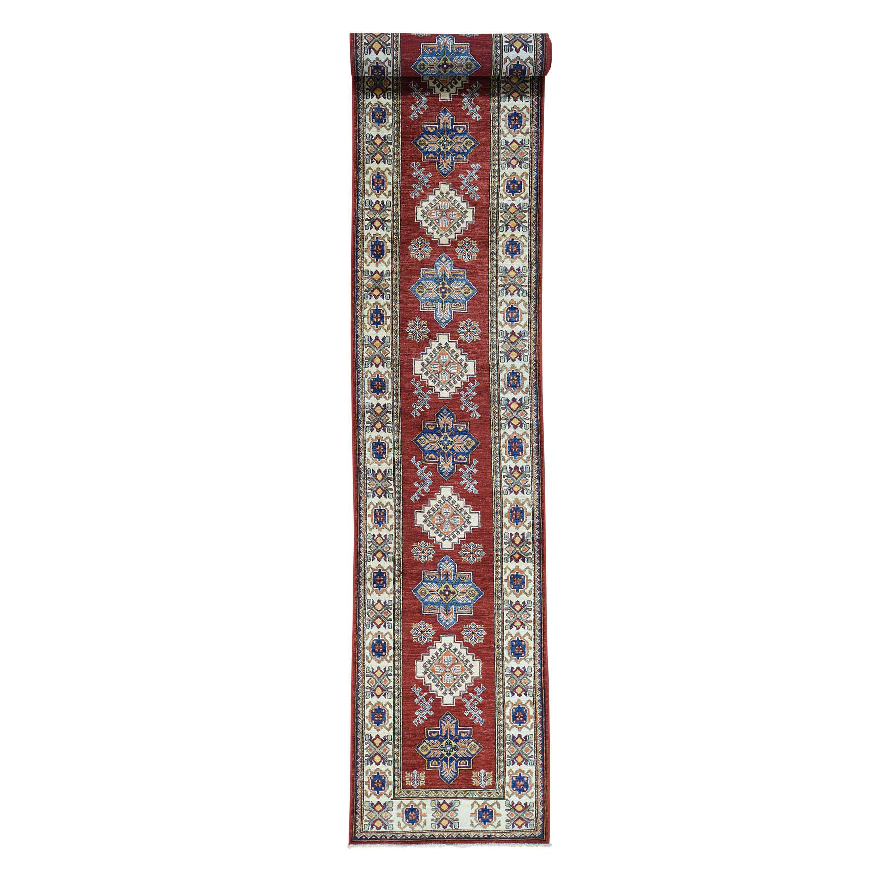 "2'6""x18'3"" Hand-Knotted Super Kazak Tribal Design XL Runner Carpet"