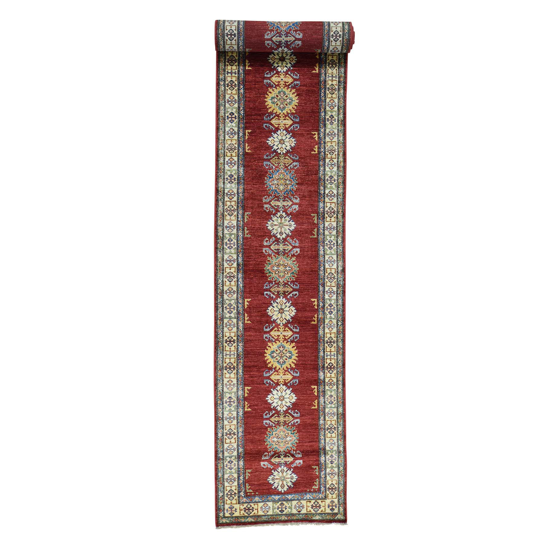 "2'8""X19' Hand-Knotted Red Super Kazak Xl Runner Tribal Design Rug moaca0b0"