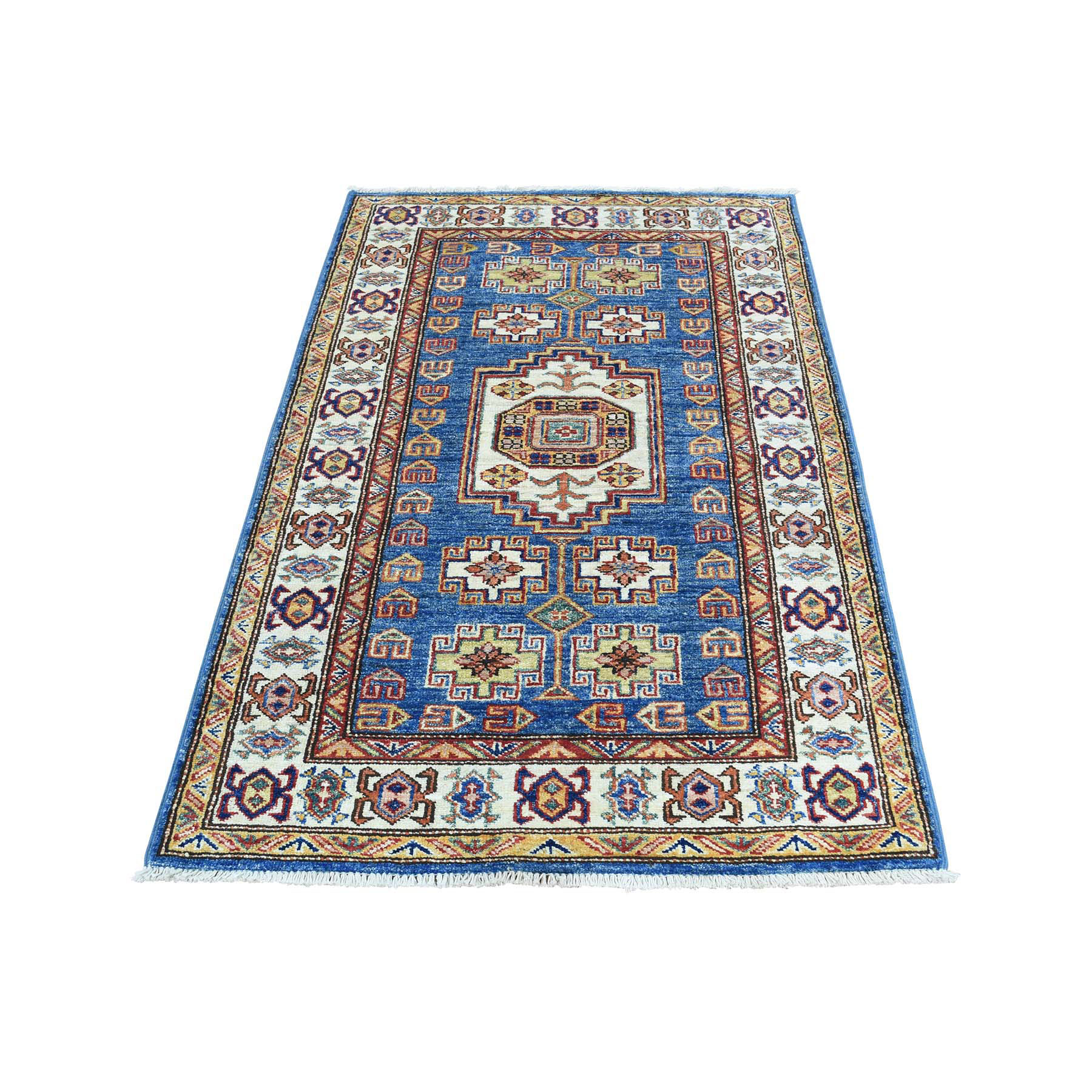 "2'7""X4'5"" Hand-Knotted Denim Blue Super Kazak Tribal Design Oriental Rug moacaa0b"
