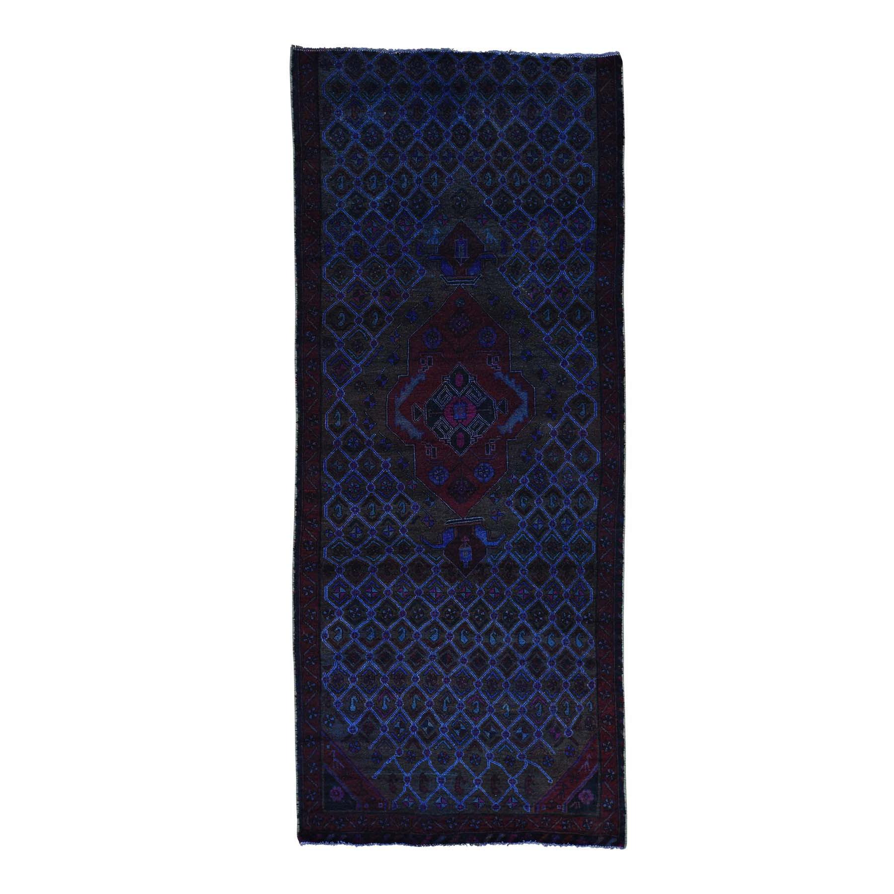 "4'X9'6"" Handmade Wide Runner Overdyed Persian Hamadan Vintage Rug moacaaca"