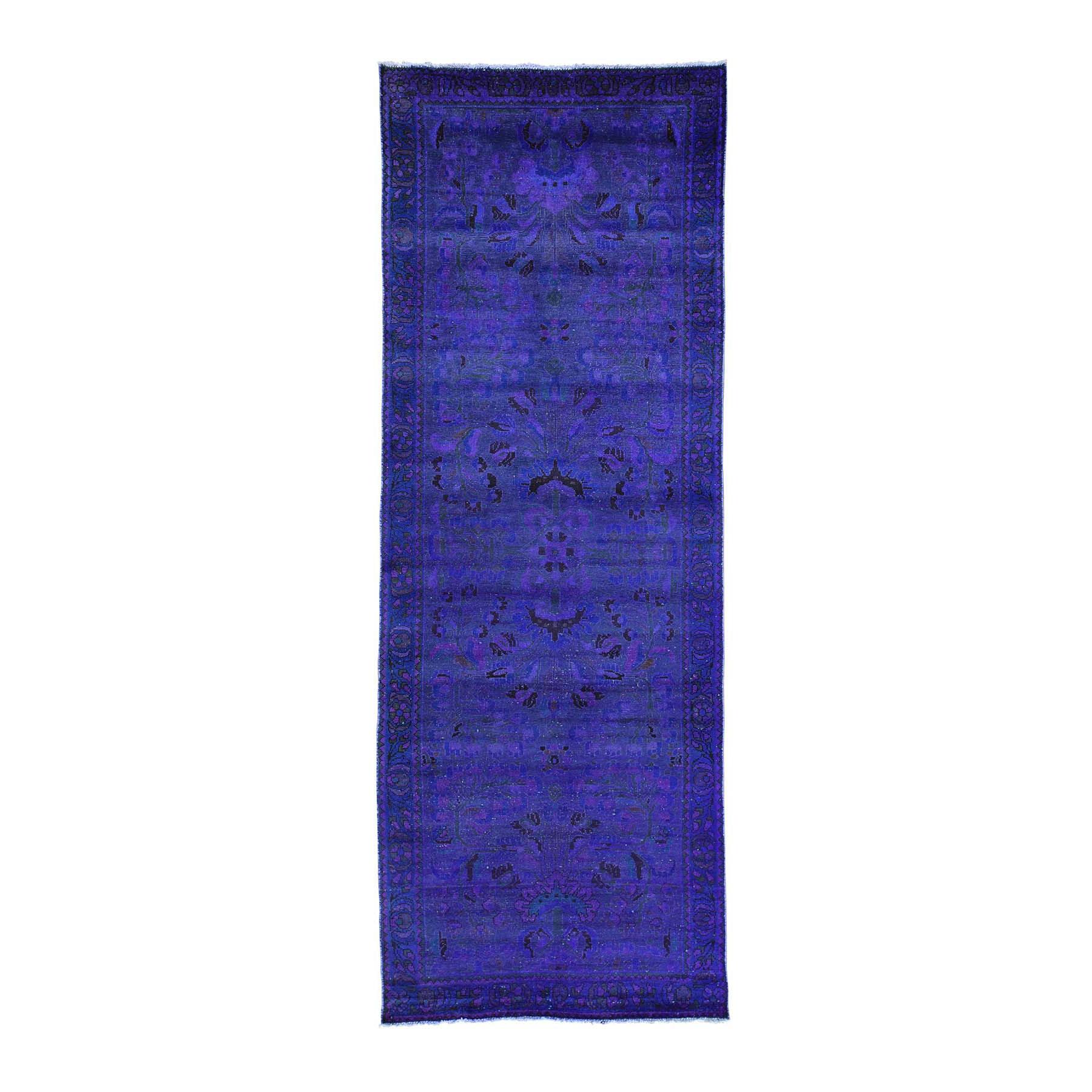 "3'7""X10' Handmade Overdyed Persian Lilahan Vintage Wide Runner Rug moacaacd"