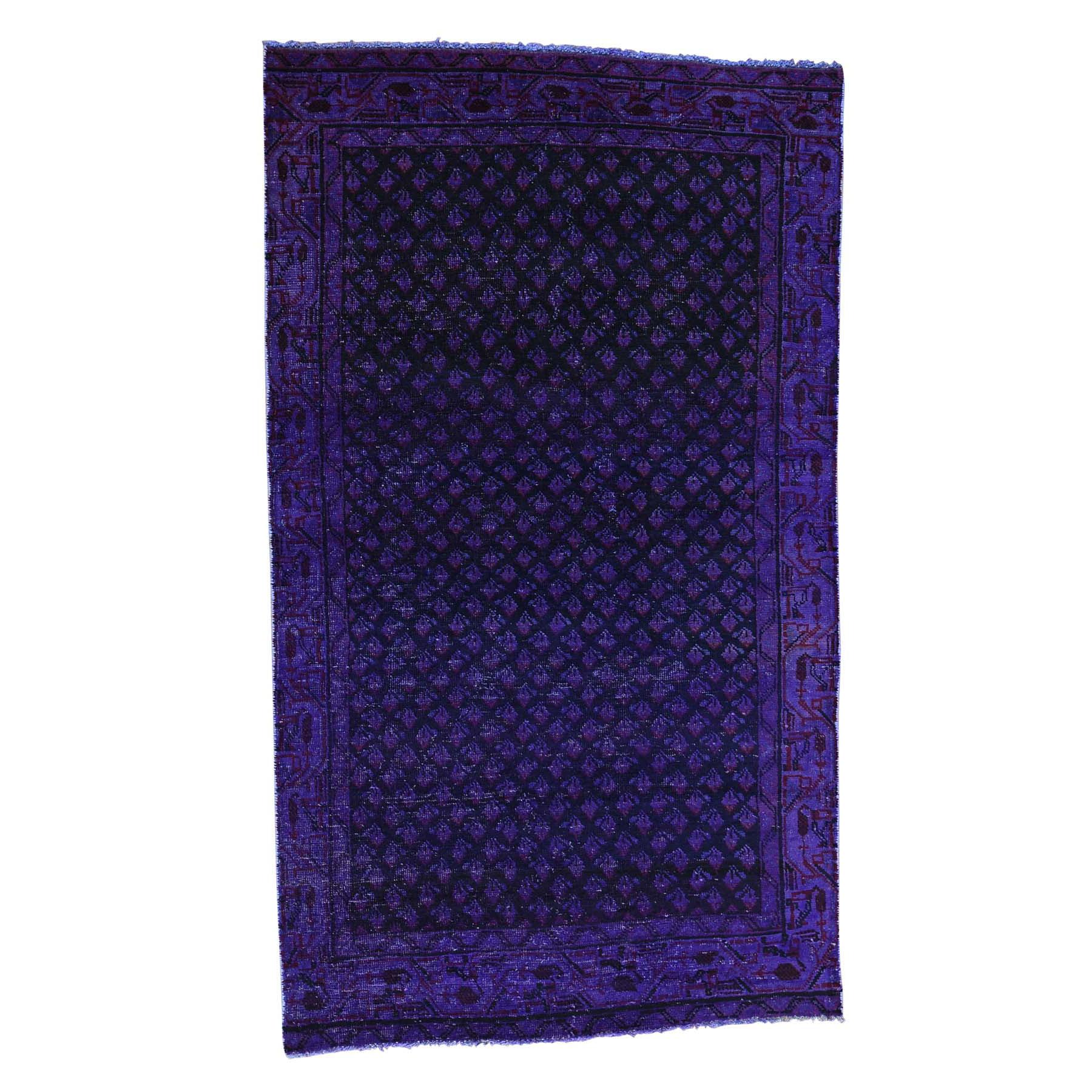 "3'10""X6'7"" Handmade Overdyed Persian Sarouk Mir Vintage Wide Runner Carpet moacaaeb"