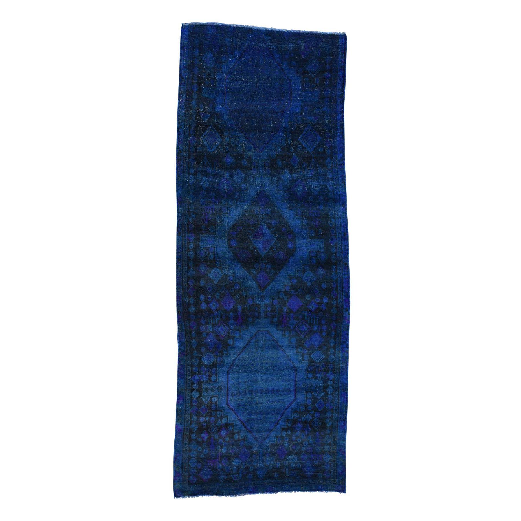"4'X10'6"" Handmade Overdyed Persian Malayer Vintage Wide Runner Carpet moacaa6c"