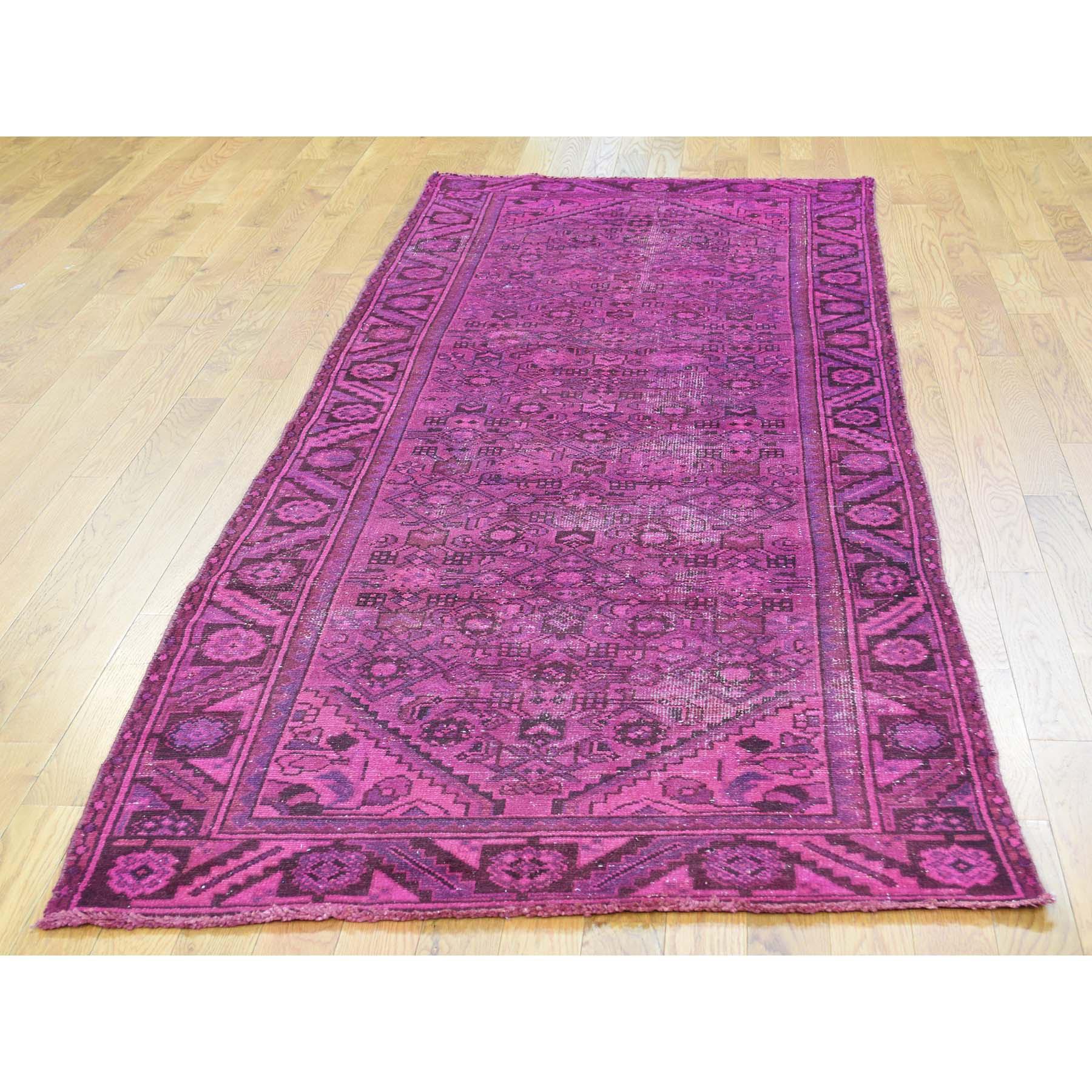 3-4 x9-7  Handmade Overdyed Persian Hussainabad Vintage Runner Rug