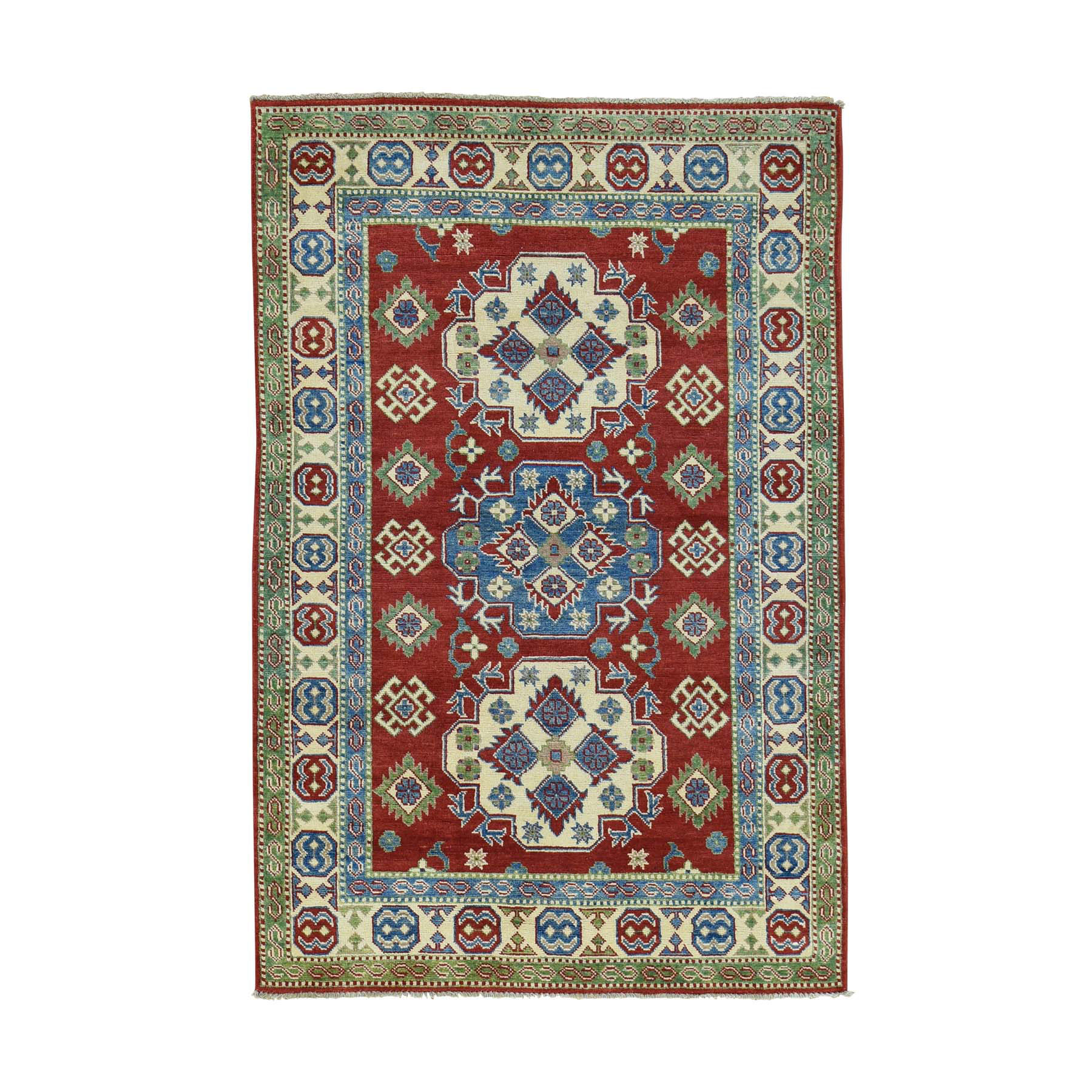 4'X6' Hand-Knotted Kazak Tribal And Geometric Design Oriental Rug moacab76