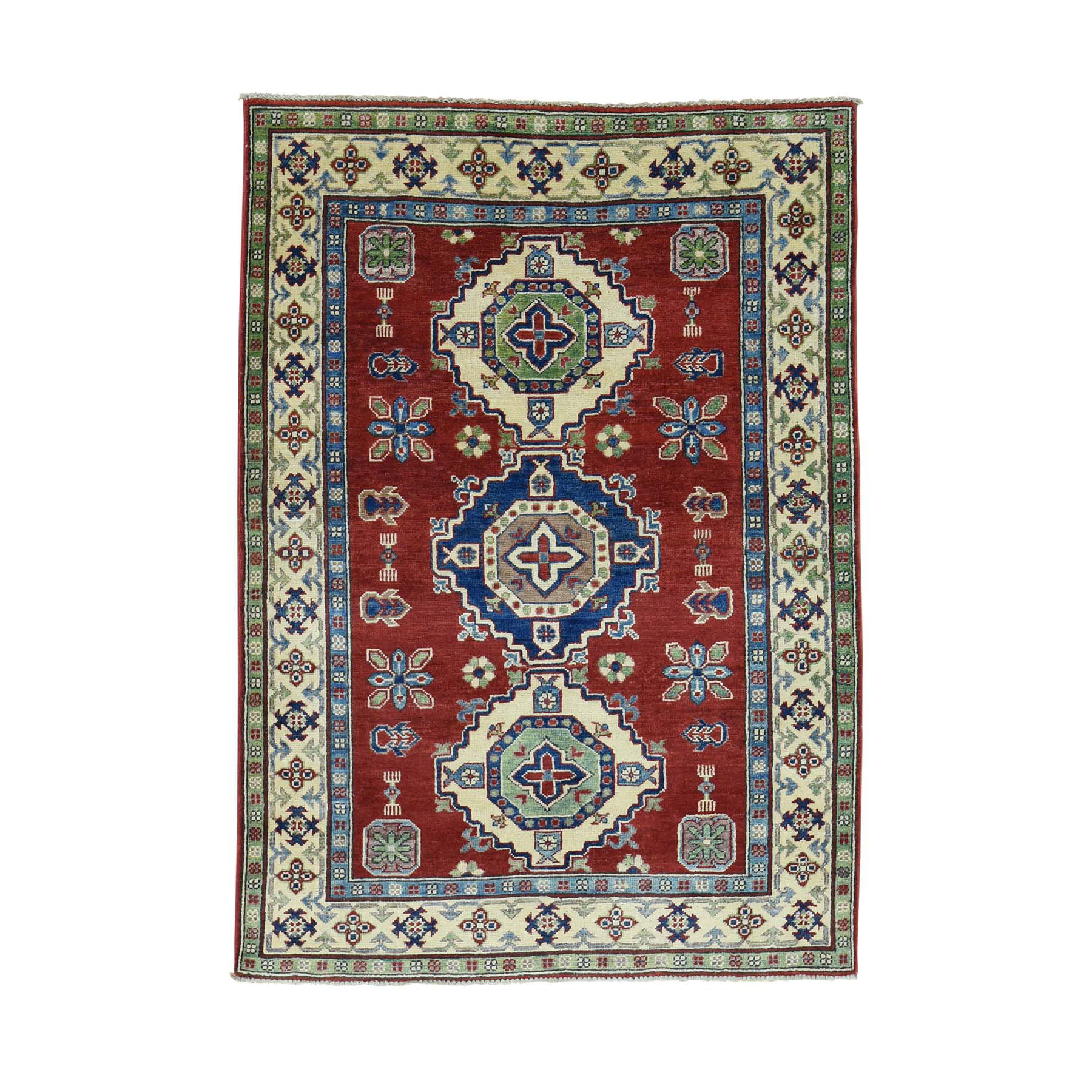 "4'1""X5'9"" Pure Wool Hand-Knotted Tribal Design Kazak Oriental Rug moacab89"