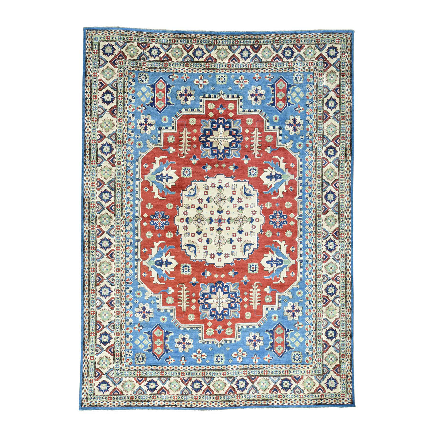 "10'1""X14' Hand-Knotted Kazak Geometric Design Pure Wool Oriental Rug moacadab"