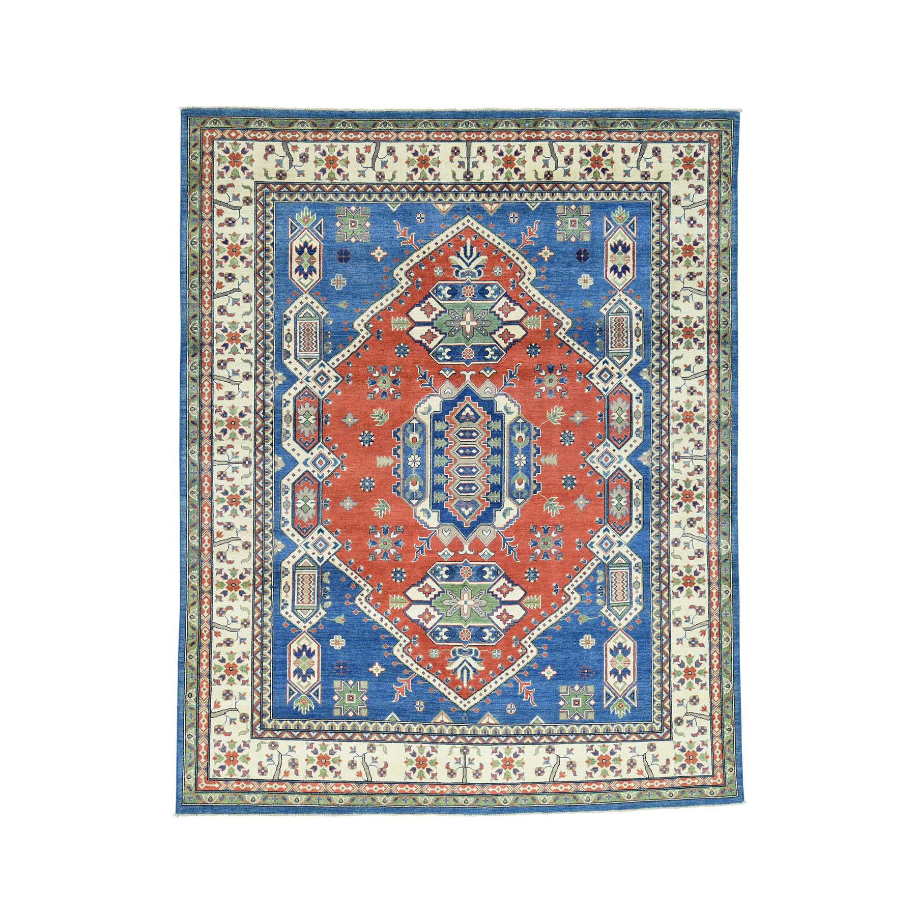 "8'X10'2"" Hand-Knotted Kazak Geometric Design Pure Wool Oriental Rug moacad66"