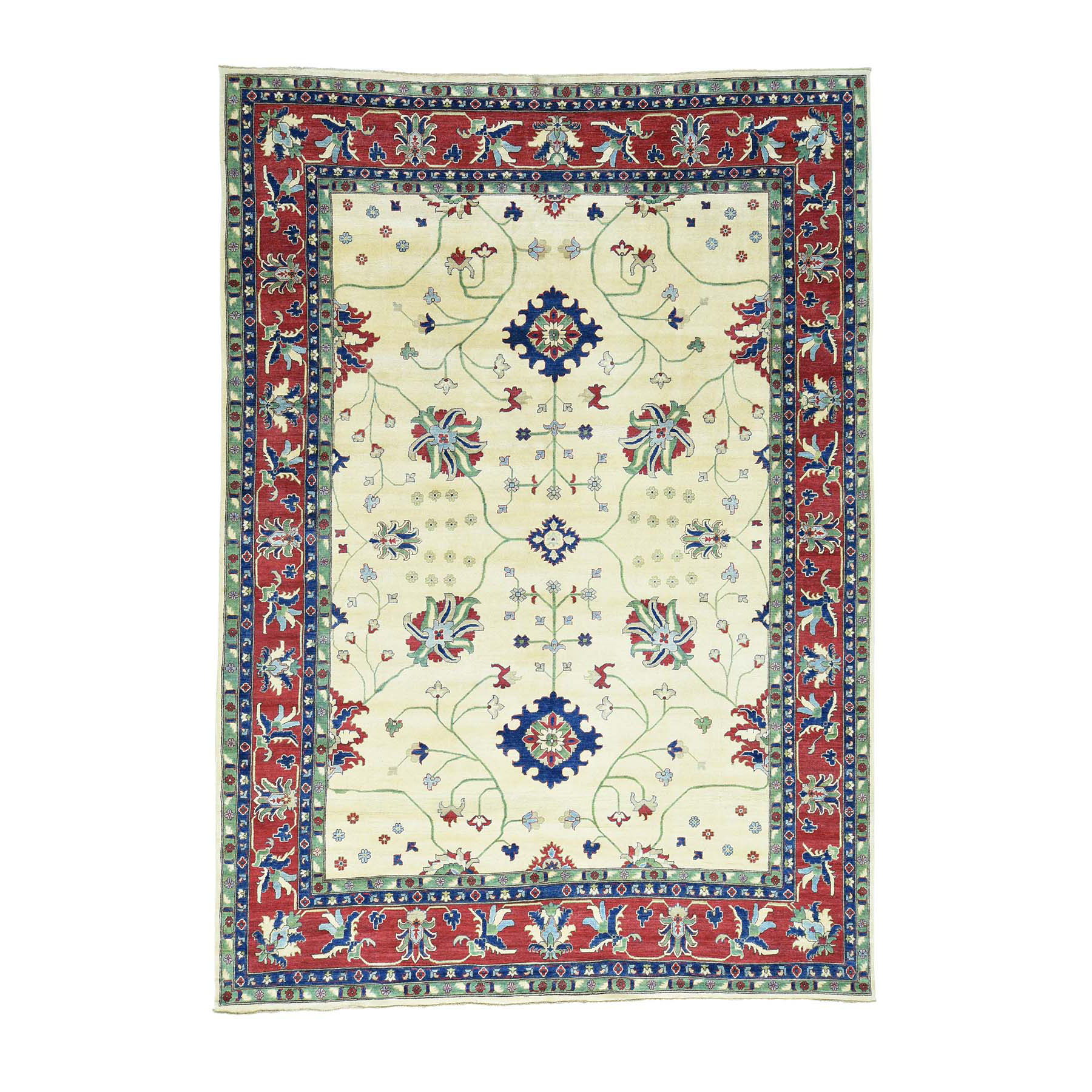 "9'10""X14' Hand-Knotted Kazak Pure Wool Geometric Design Oriental Rug moacad7b"