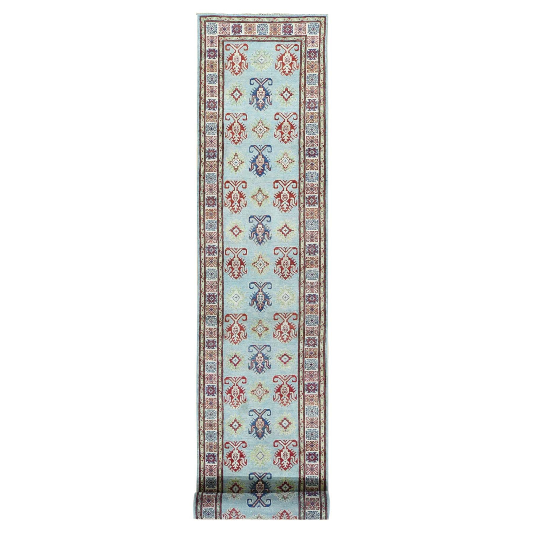 "2'8""x17'3"" Hand-Knotted Kazak Pure Wool XL Runner Tribal Design Rug"