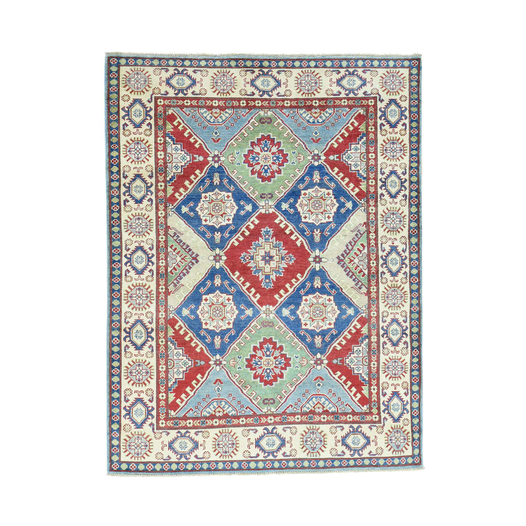 "5'4""X7'1"" Hand-Knotted Kazak Tribal And Geometric Design Pure Wool Rug moacaed6"