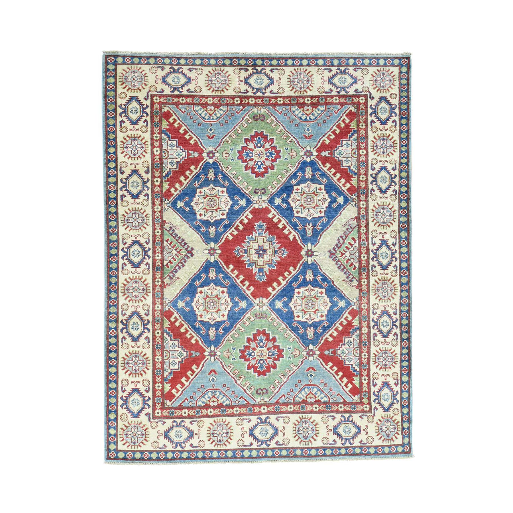 "5'4""x7'1"" Hand-Knotted Kazak Tribal And Geometric Design Pure Wool Rug"