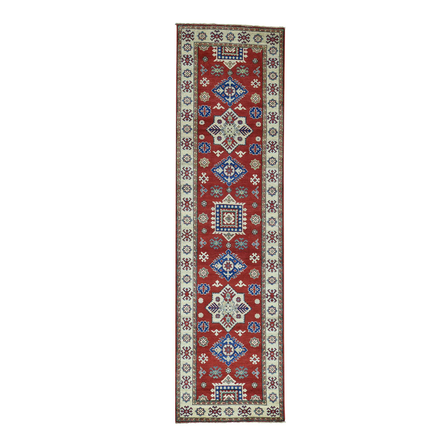 "2'8""X9'9"" Pure Wool Handmade Tribal Design Kazak Oriental Runner Rug moaca6a0"