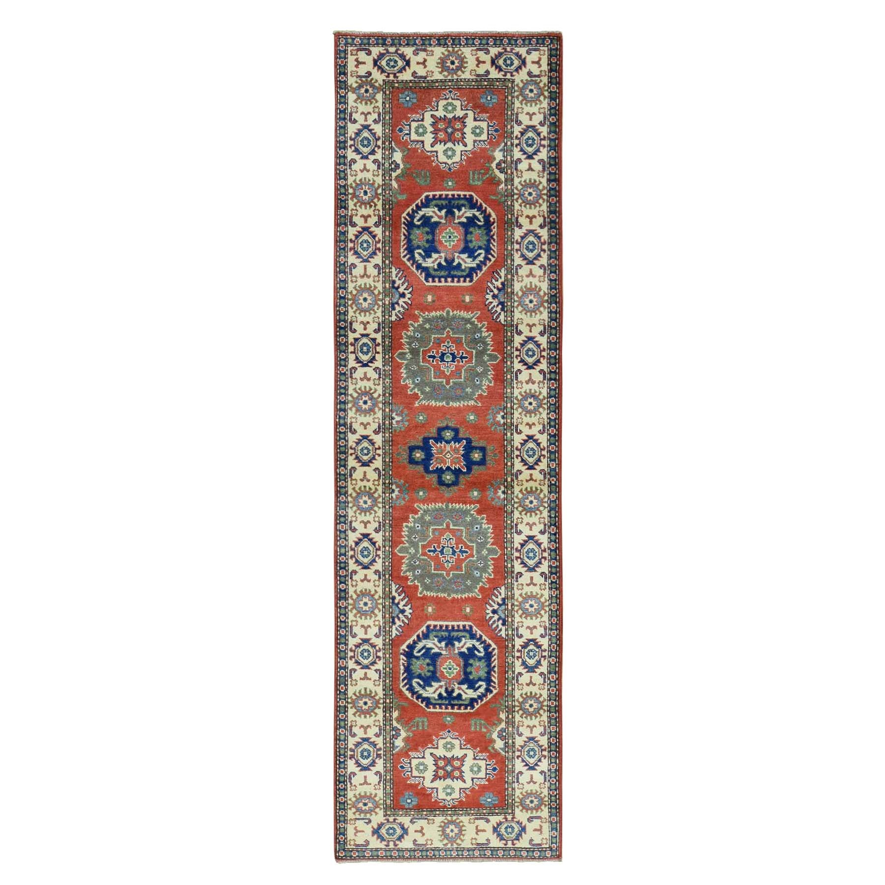 "2'7""X9'10"" Hand-Knotted Geometric Design Kazak Runner Pure Wool Rug moaca6be"