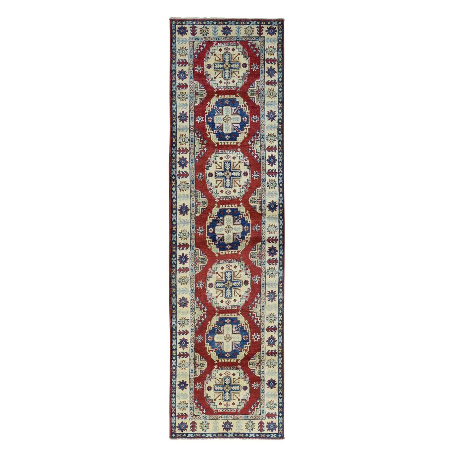 "2'10""X10'3"" Hand-Knotted Red Kazak Geometric Design Runner Oriental Rug moaca6cc"