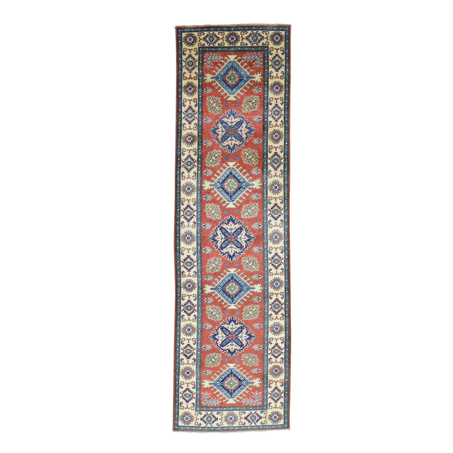 "2'10""X9'10"" Red Hand-Knotted Geometric Design Pure Wool Runner Kazak Rug moaca6db"