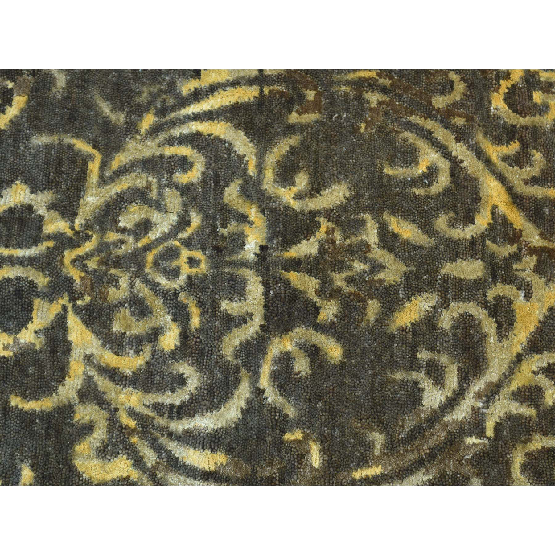 "2'x9'10"" Hand-Knotted Tone on Tone Damask Wool and Silk Oriental Rug"