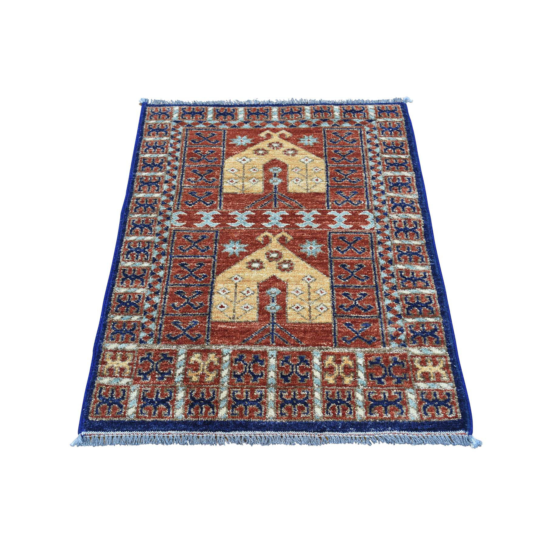 "2'X3'2"" 100 Percent Wool Afghan Ersari Hand-Knotted Prayer Design Rug moaca7d8"
