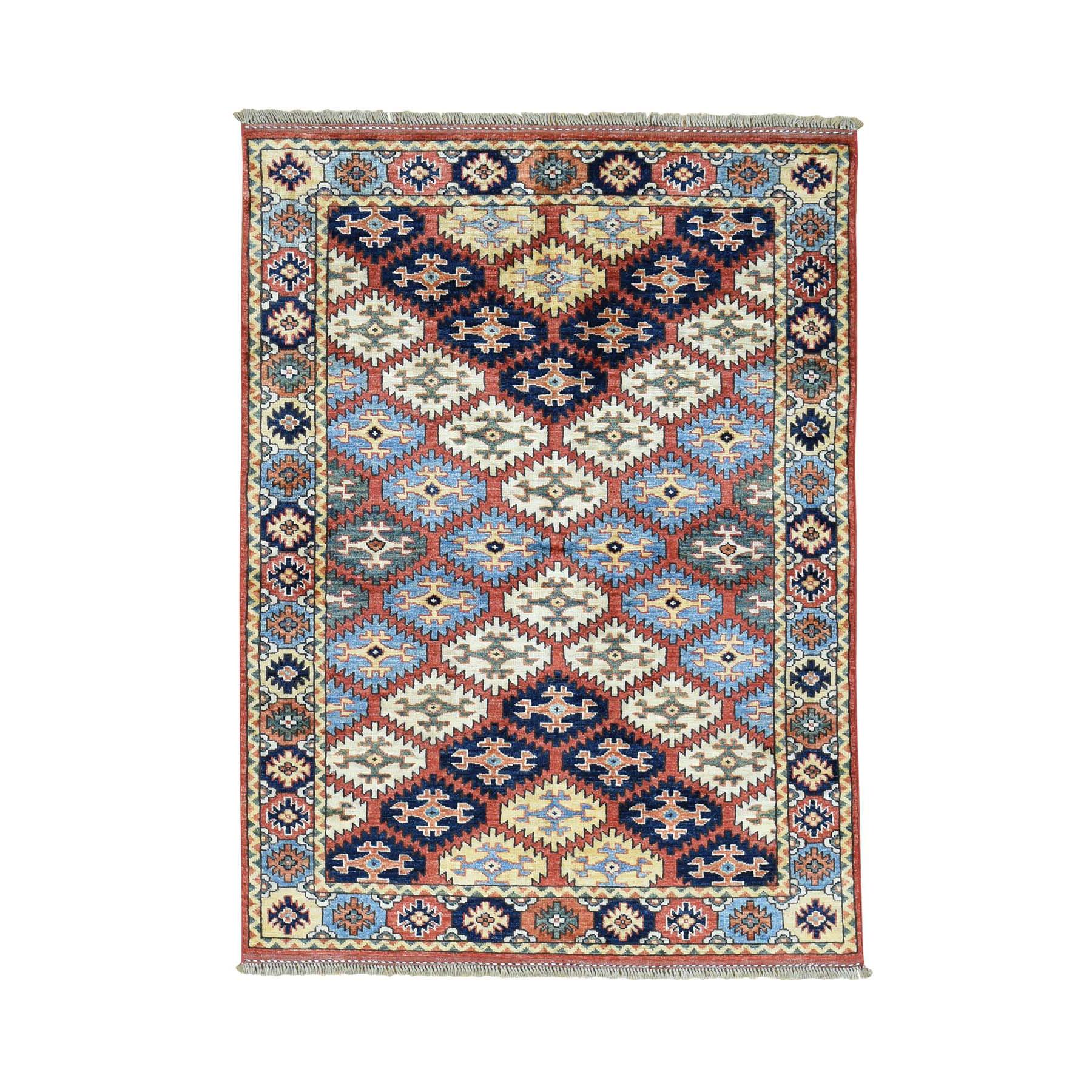 "4'2""X5'8"" Hand-Knotted 100 Percent Wool Afghan Ersari Oriental Carpet moaca808"