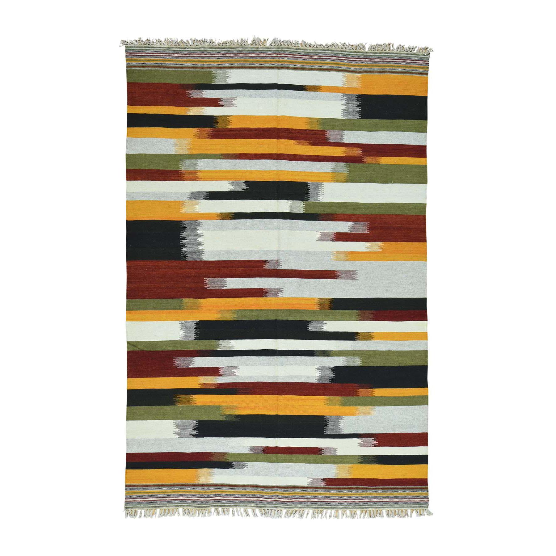 "6'X9'3"" Hand-Woven Pure Wool Dazzling Durie Kilim Flat Weave Carpet moaca8ba"