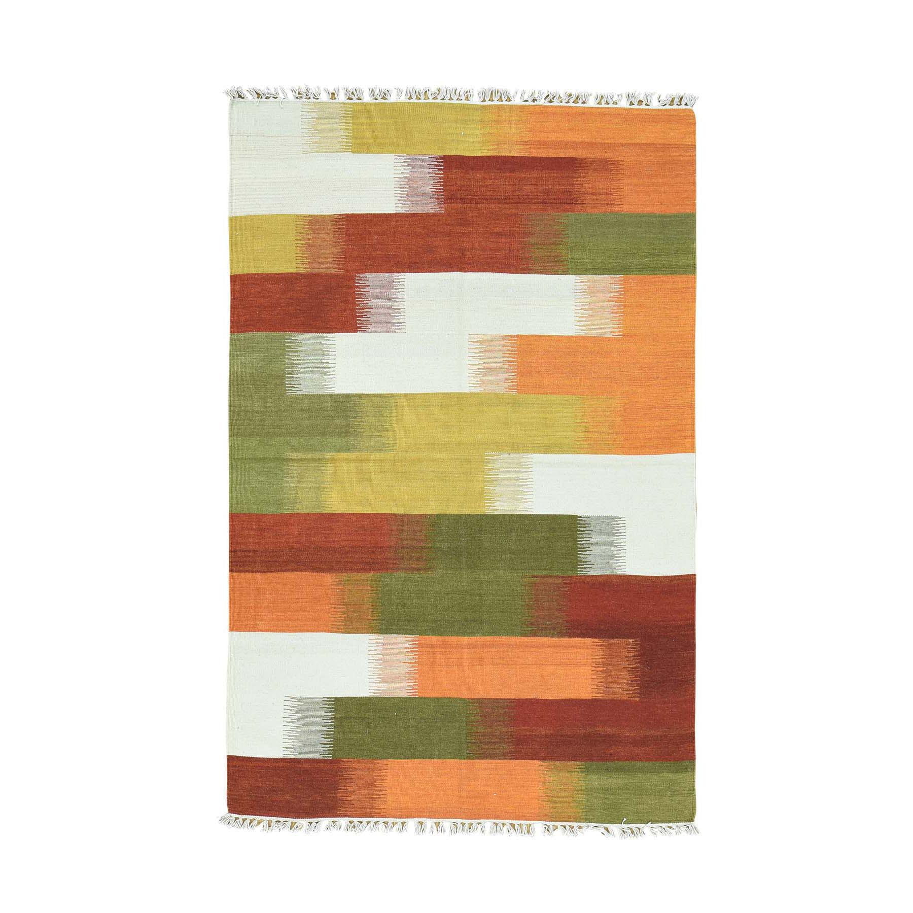 "4'X6'2"" Hand-Woven Durie Kilim 100 Percent Wool Flat Weave Colorful Rug moaca8b6"