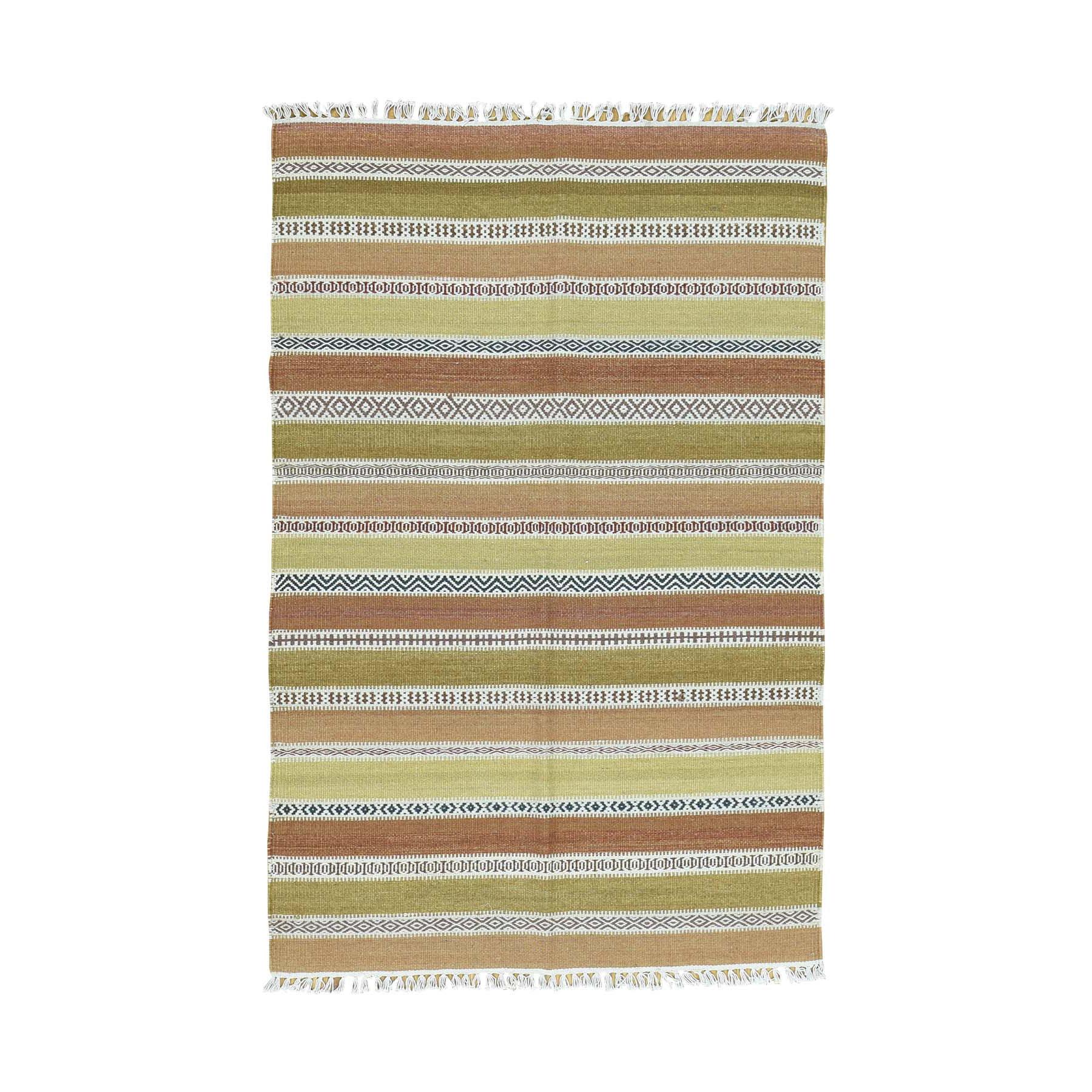 4'X6' Hand-Woven Striped Durie Kilim 100 Percent Wool Flat Weave Rug moaca8b7