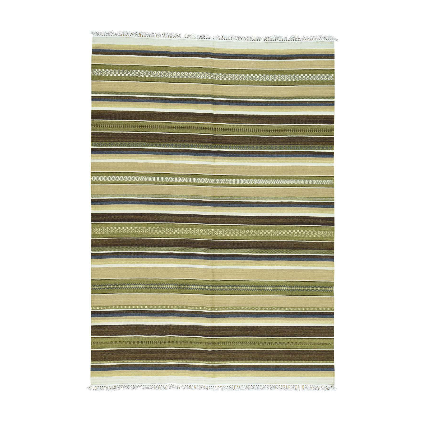 "5'6""X7'9"" Flat Weave Hand-Woven Reversible Pure Wool Striped Kilim Rug moaca8ee"