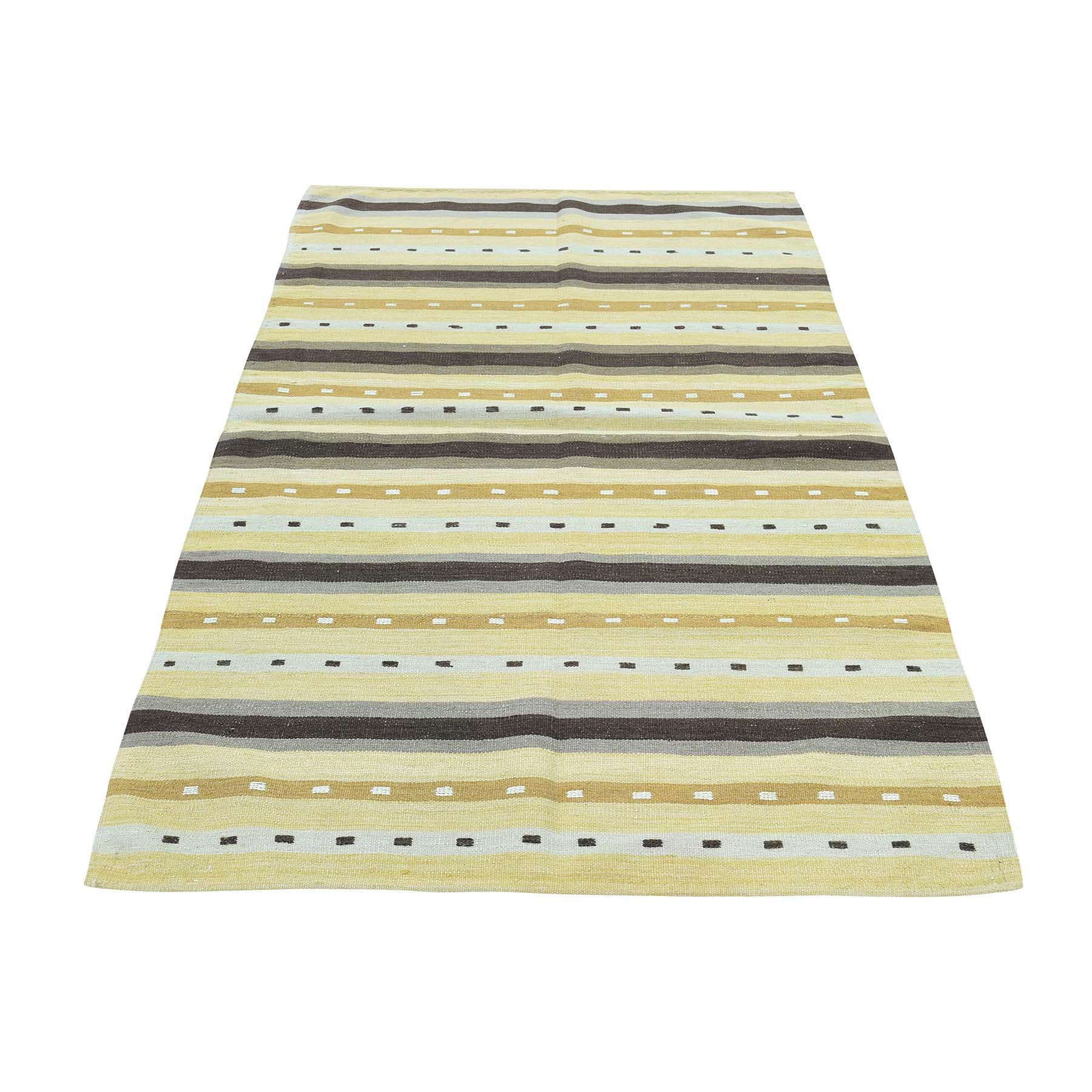 "3'1""X5'2"" Flat Weave Hand-Woven Reversible Striped Qashqai Kilim Rug moaca8e8"