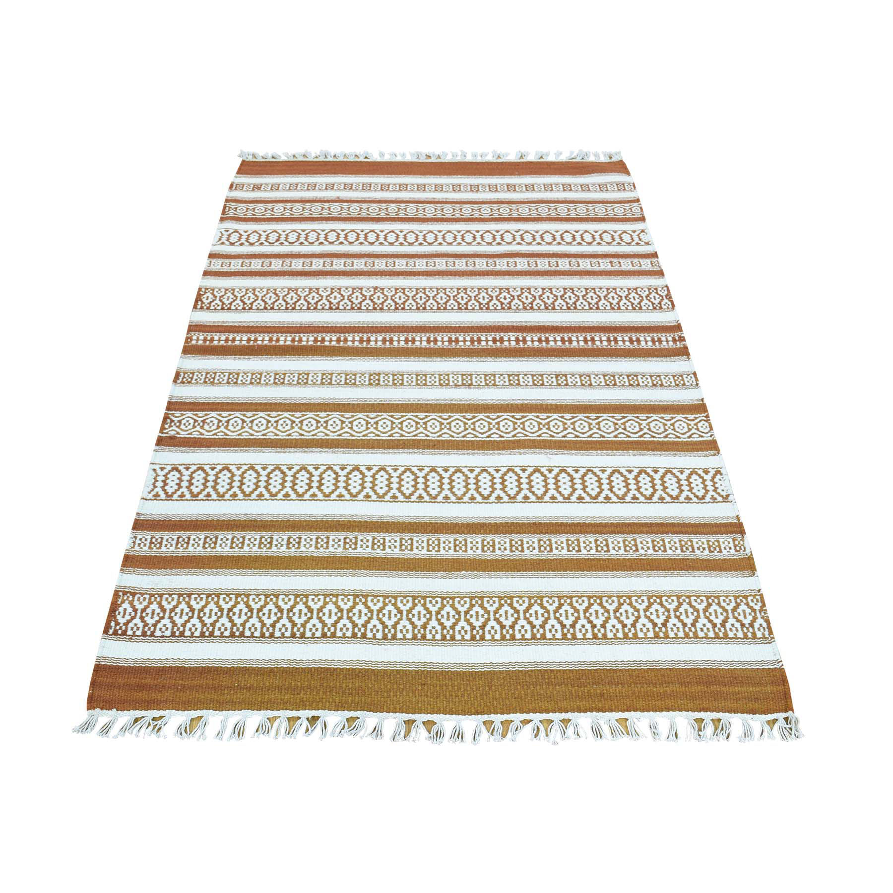 3'X5' Flat Weave Hand-Woven Reversible Striped Kilim Pure Wool Rug moaca86a