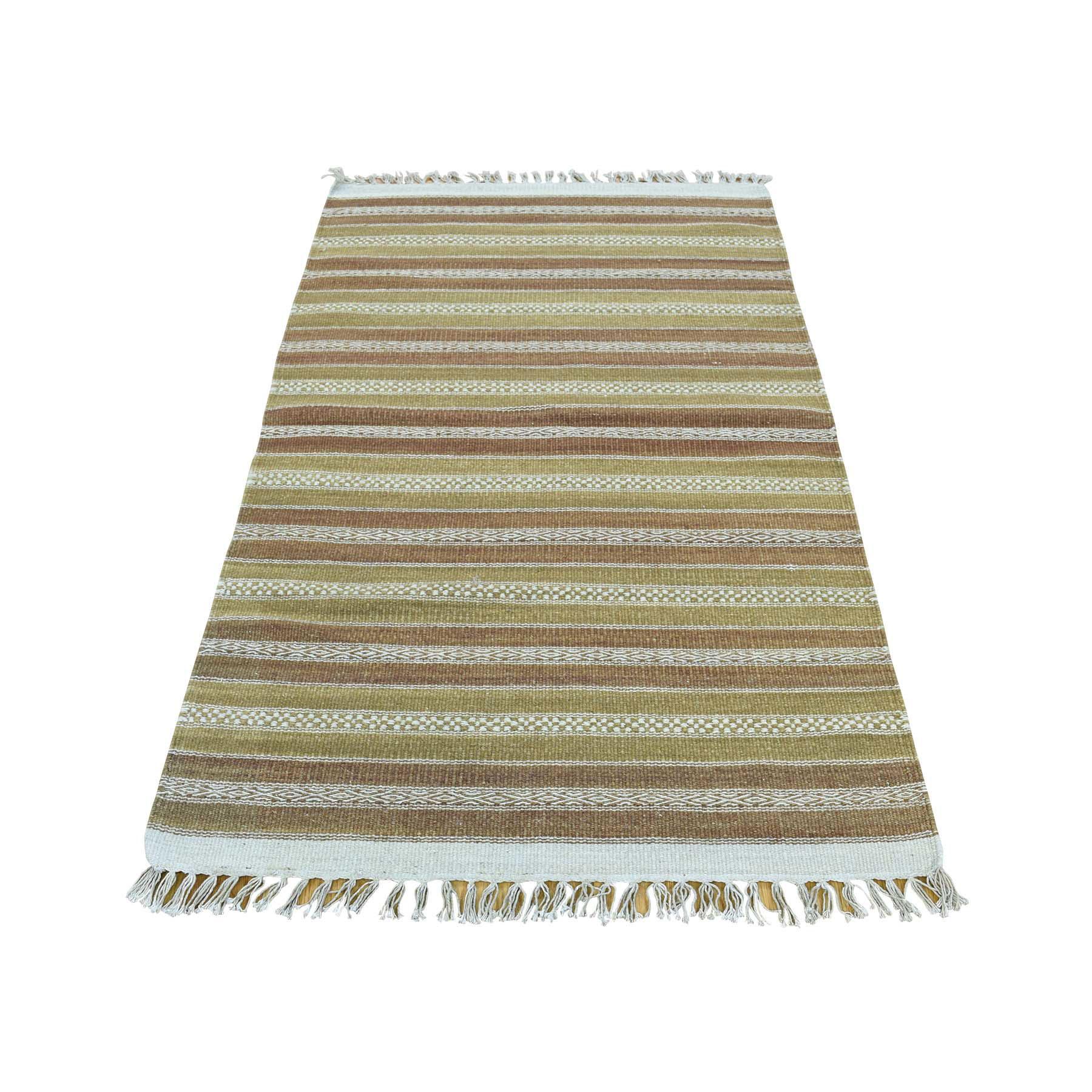"2'9""X5'1"" Flat Weave Pure Wool Hand-Woven Reversible Striped Kilim Rug moaca86b"