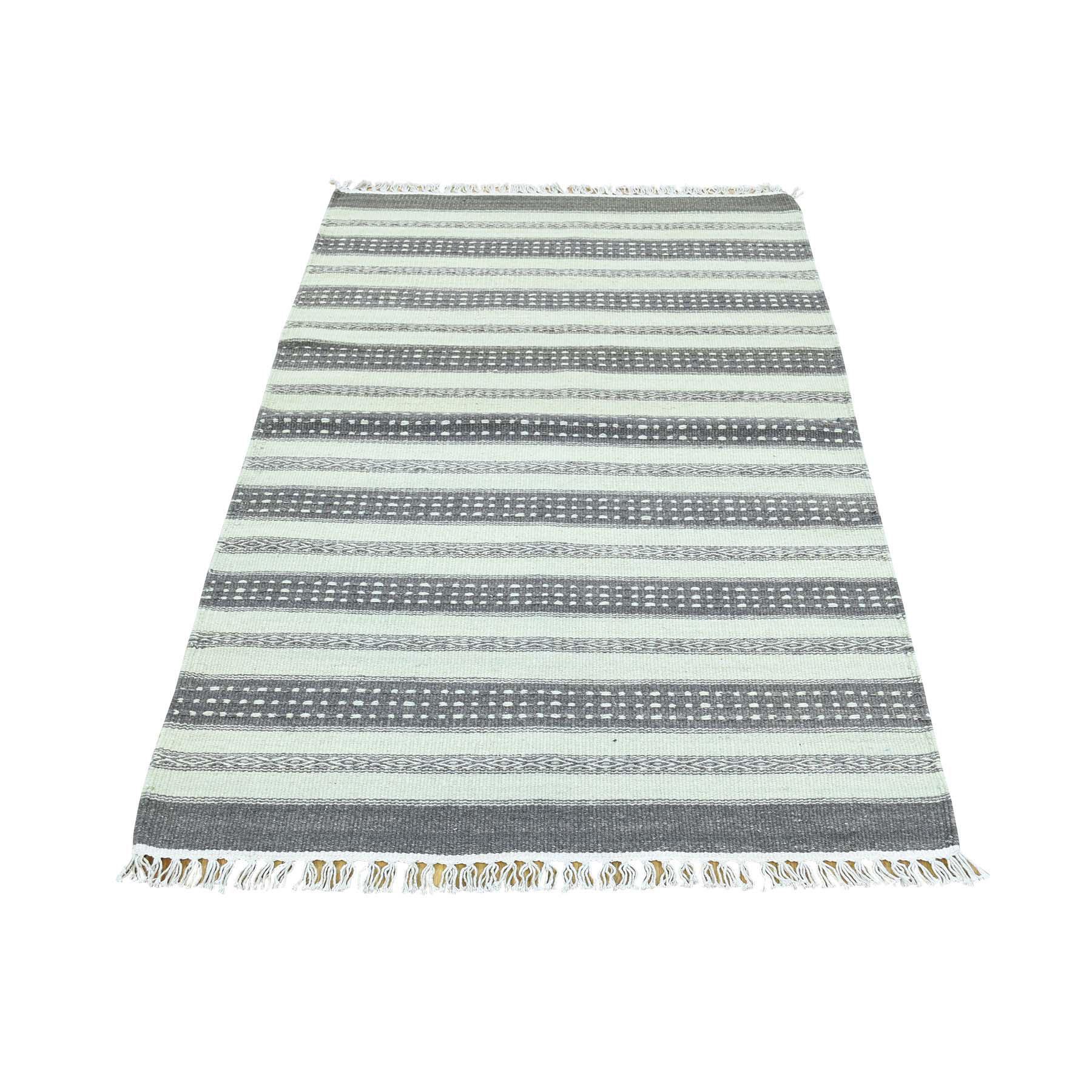 "2'10""X4'10"" Hand-Woven Striped Kilim Pure Wool Flat Weave Oriental Rug moaca89c"