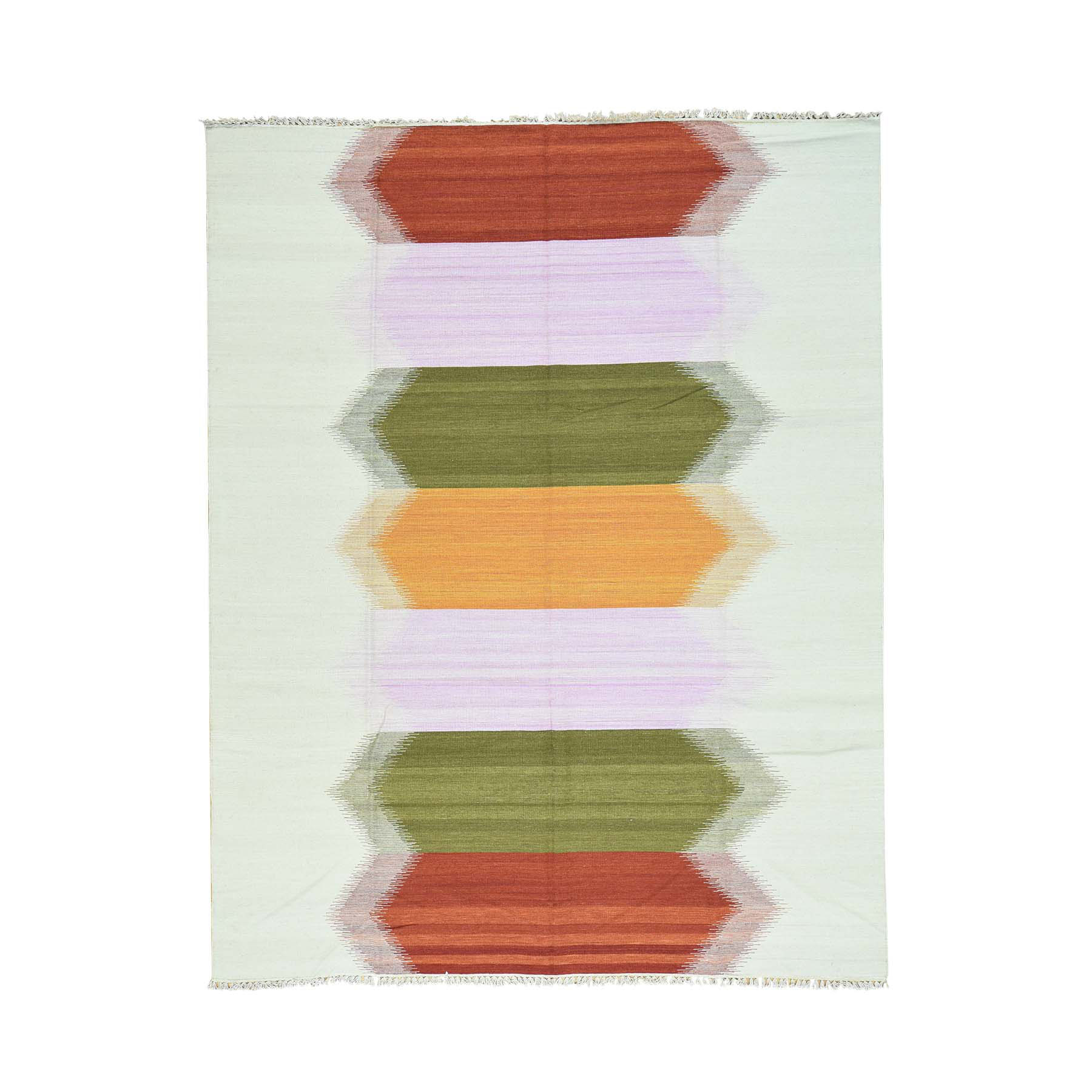 "8'X10'1"" Hand-Woven Dazzling Kilim Pure Wool Flat Weave Oriental Rug moaca900"